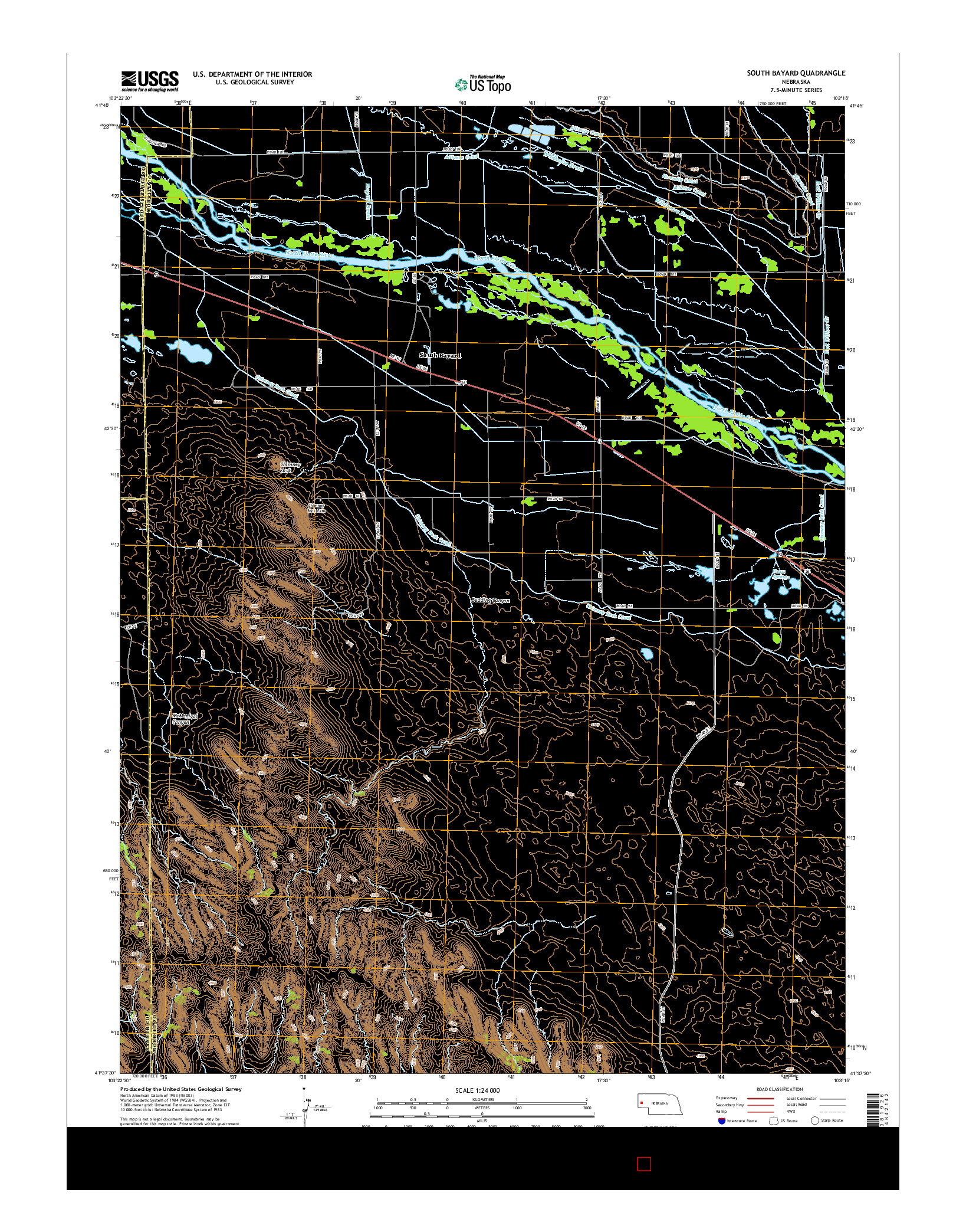 USGS US TOPO 7.5-MINUTE MAP FOR SOUTH BAYARD, NE 2014