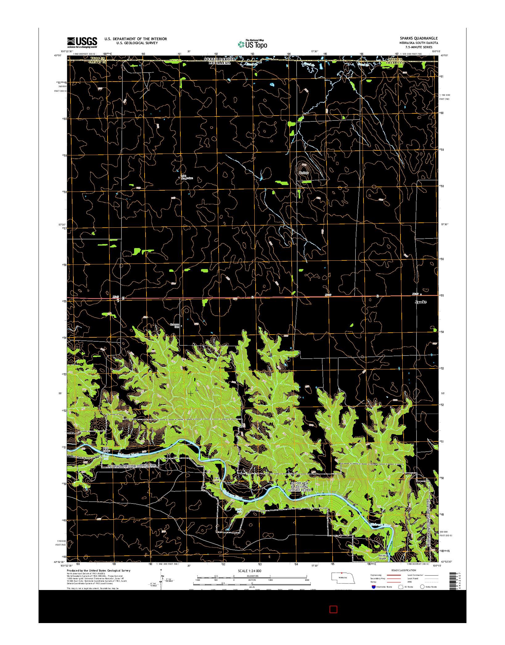 USGS US TOPO 7.5-MINUTE MAP FOR SPARKS, NE-SD 2014