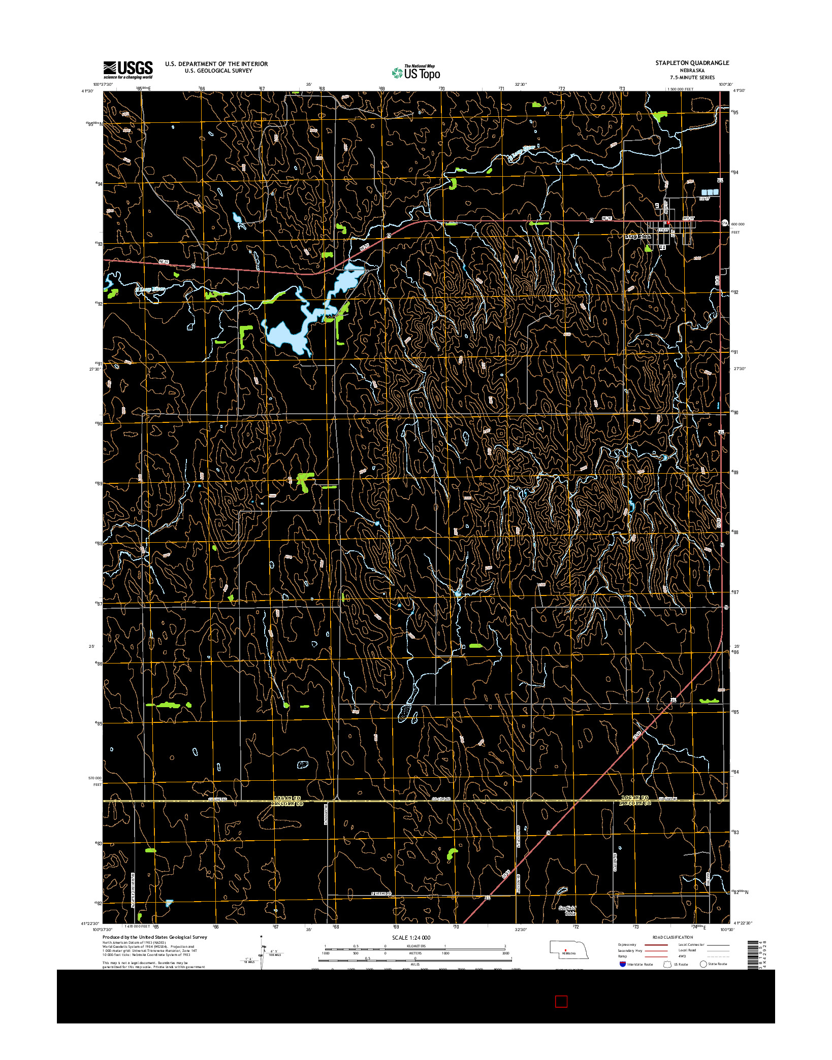 USGS US TOPO 7.5-MINUTE MAP FOR STAPLETON, NE 2014