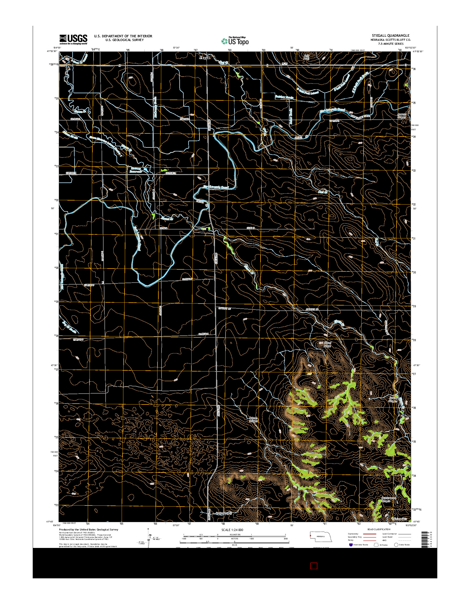 USGS US TOPO 7.5-MINUTE MAP FOR STEGALL, NE 2014