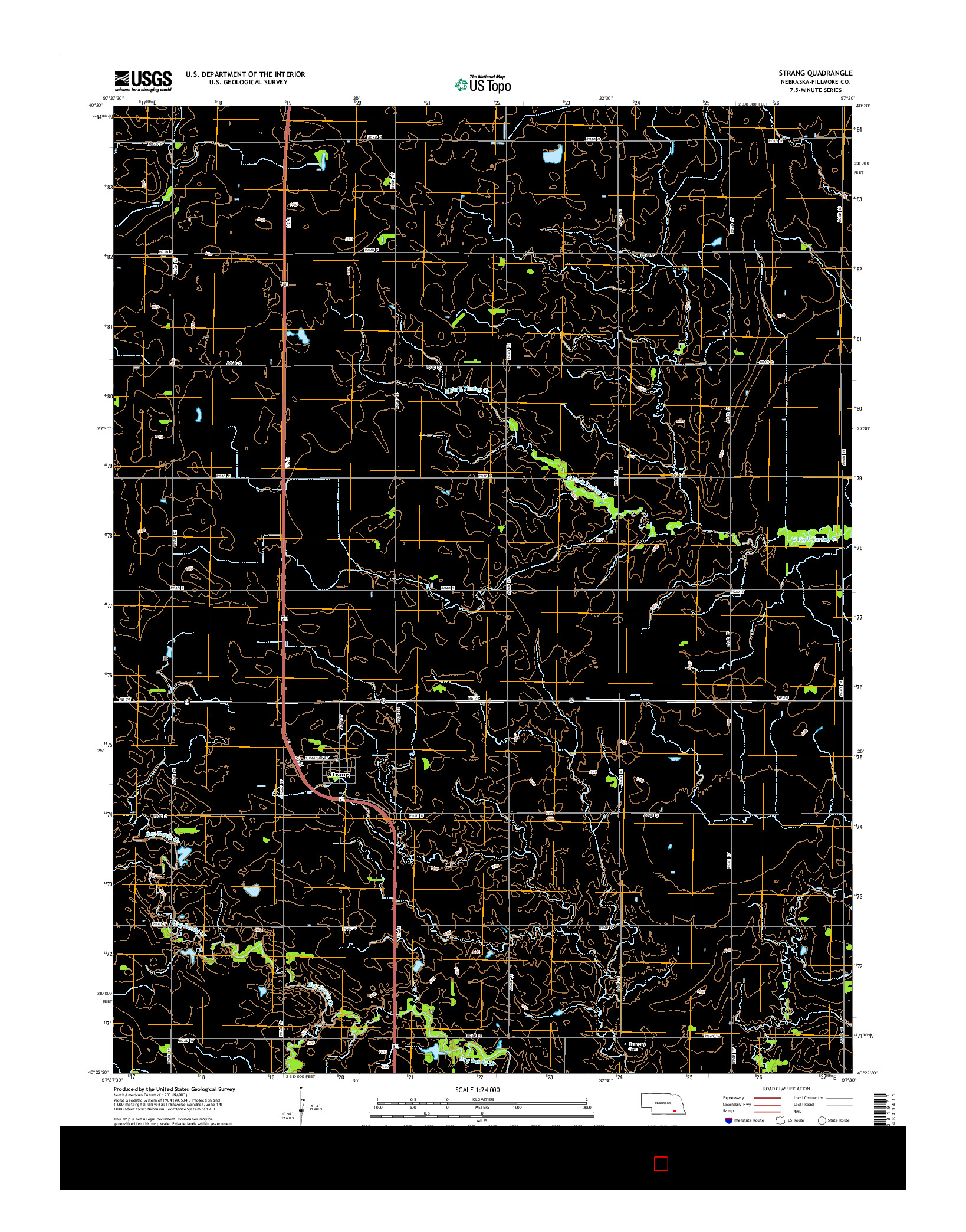 USGS US TOPO 7.5-MINUTE MAP FOR STRANG, NE 2014