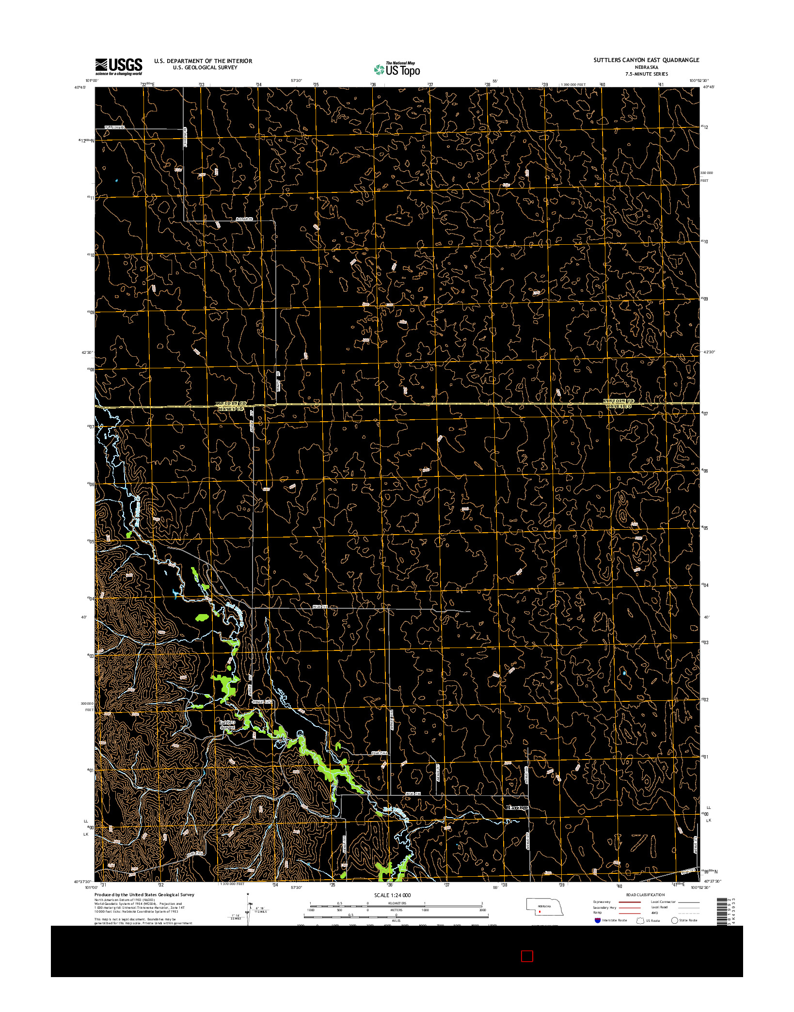 USGS US TOPO 7.5-MINUTE MAP FOR SUTTLERS CANYON EAST, NE 2014