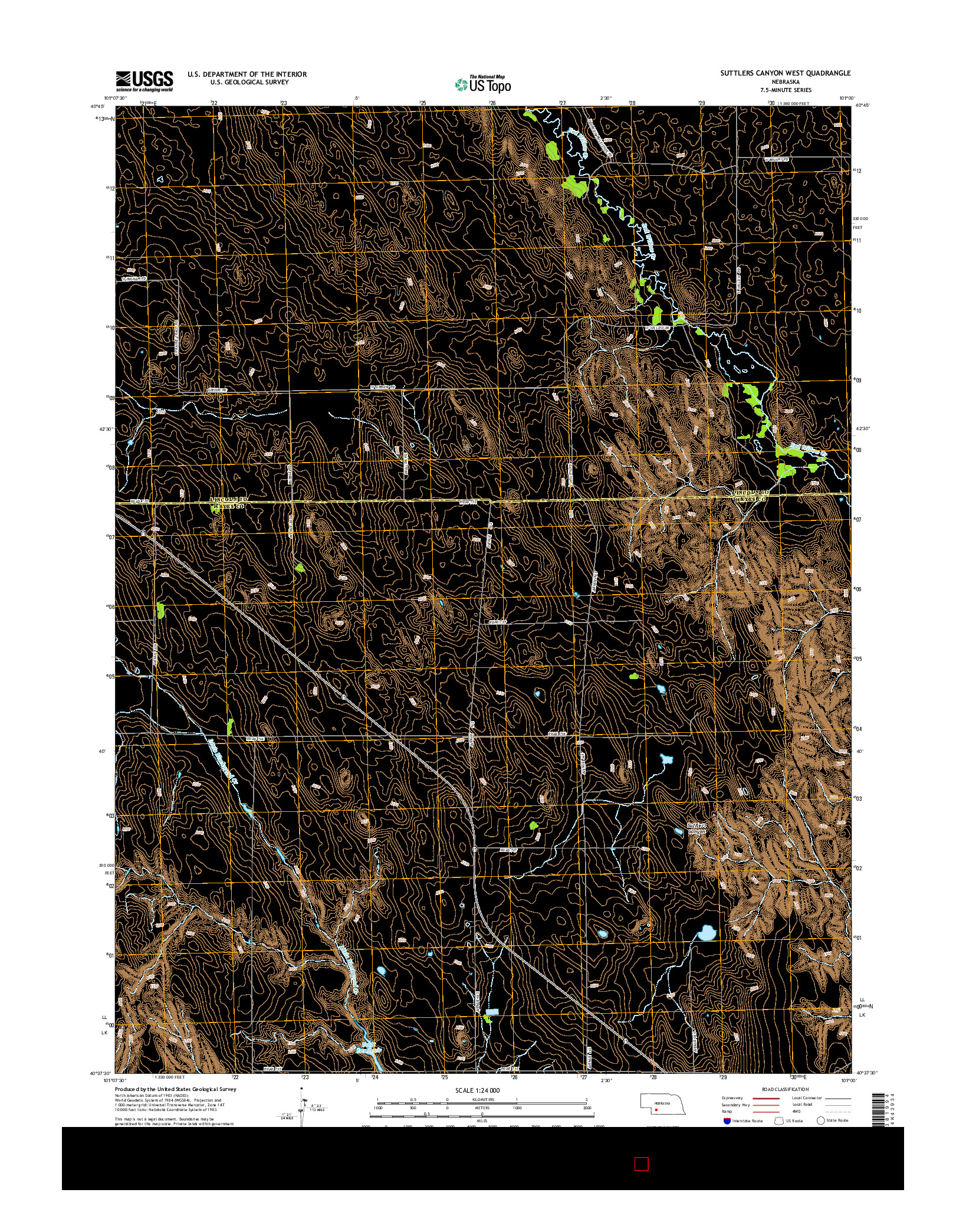 USGS US TOPO 7.5-MINUTE MAP FOR SUTTLERS CANYON WEST, NE 2014