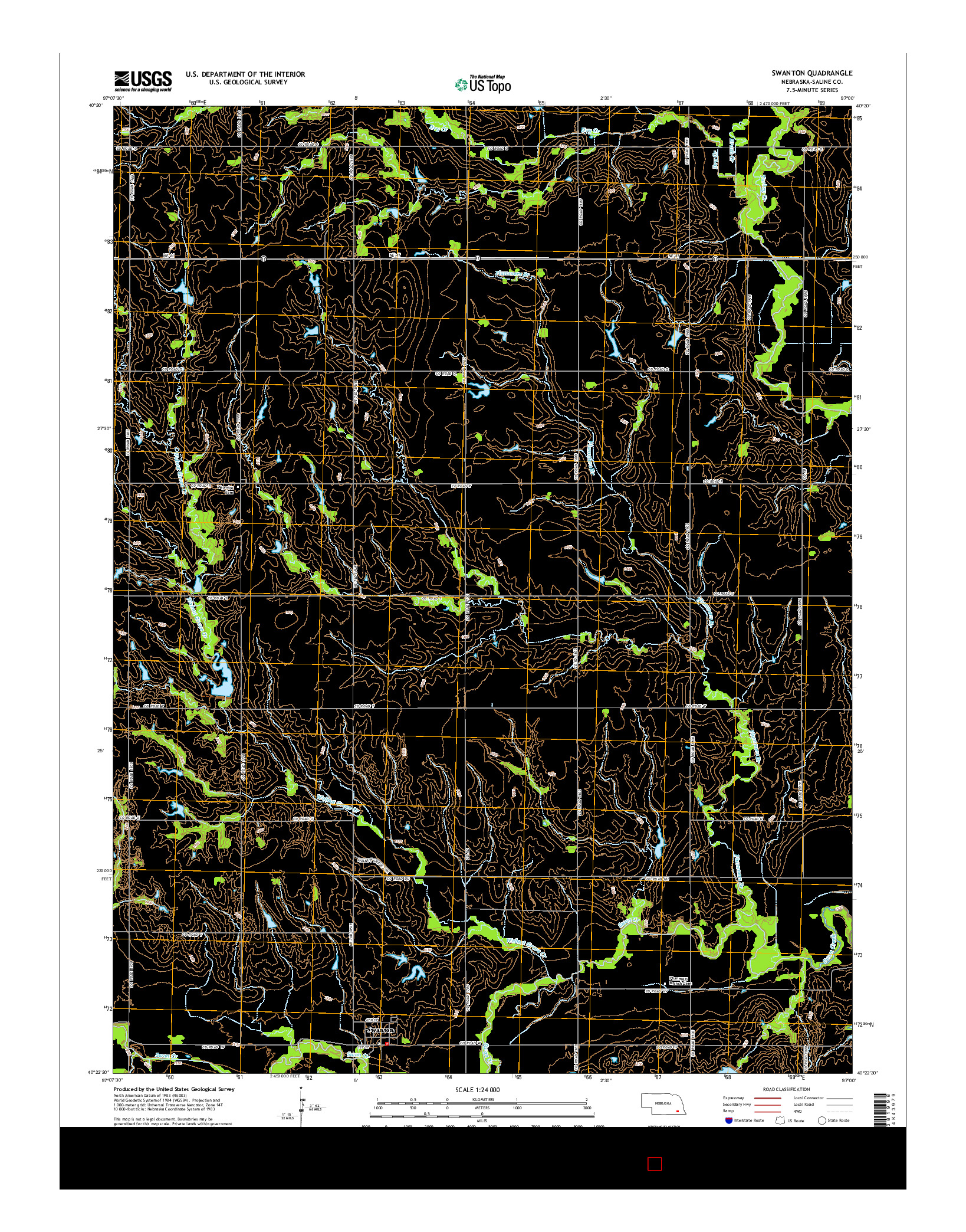 USGS US TOPO 7.5-MINUTE MAP FOR SWANTON, NE 2014
