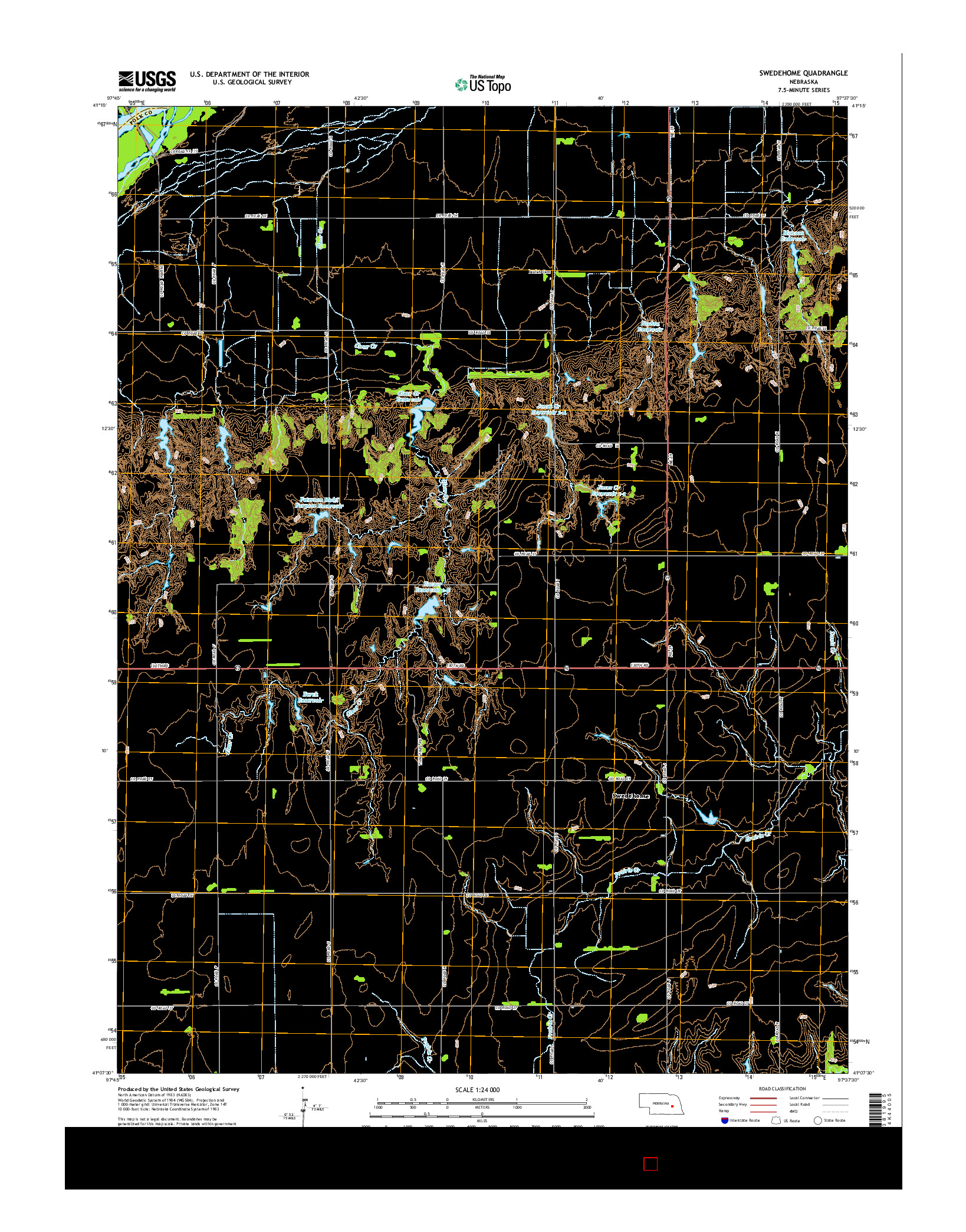 USGS US TOPO 7.5-MINUTE MAP FOR SWEDEHOME, NE 2014