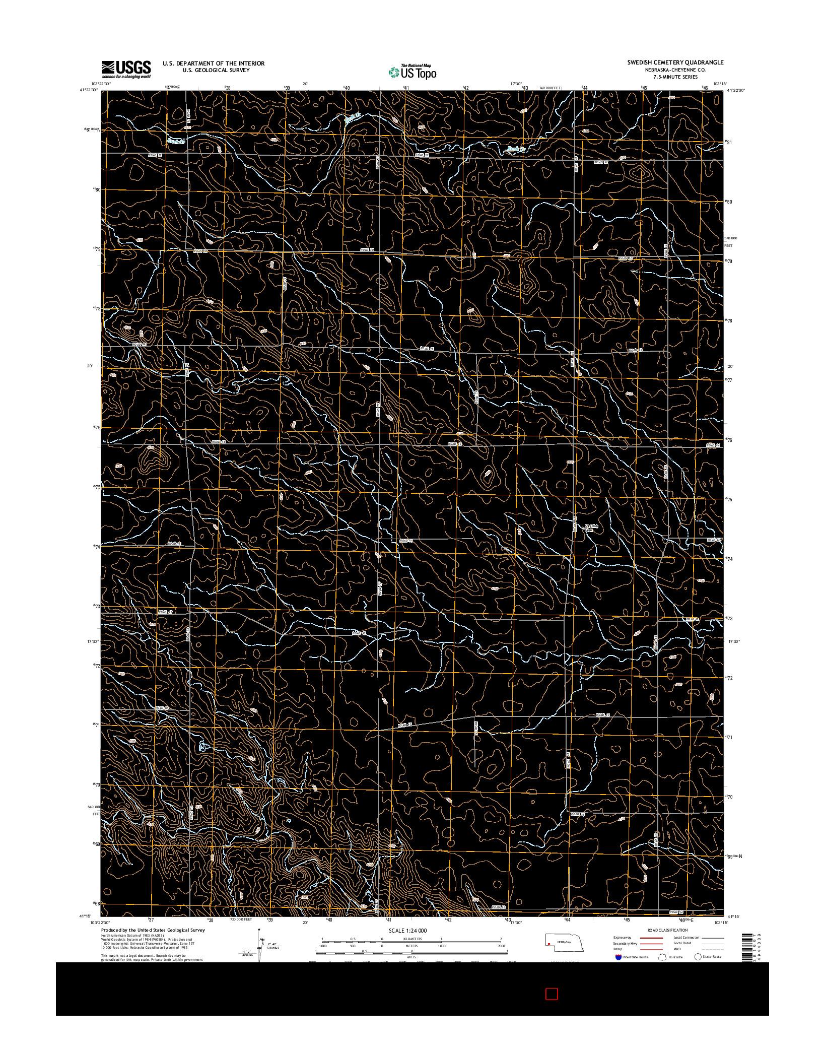 USGS US TOPO 7.5-MINUTE MAP FOR SWEDISH CEMETERY, NE 2014