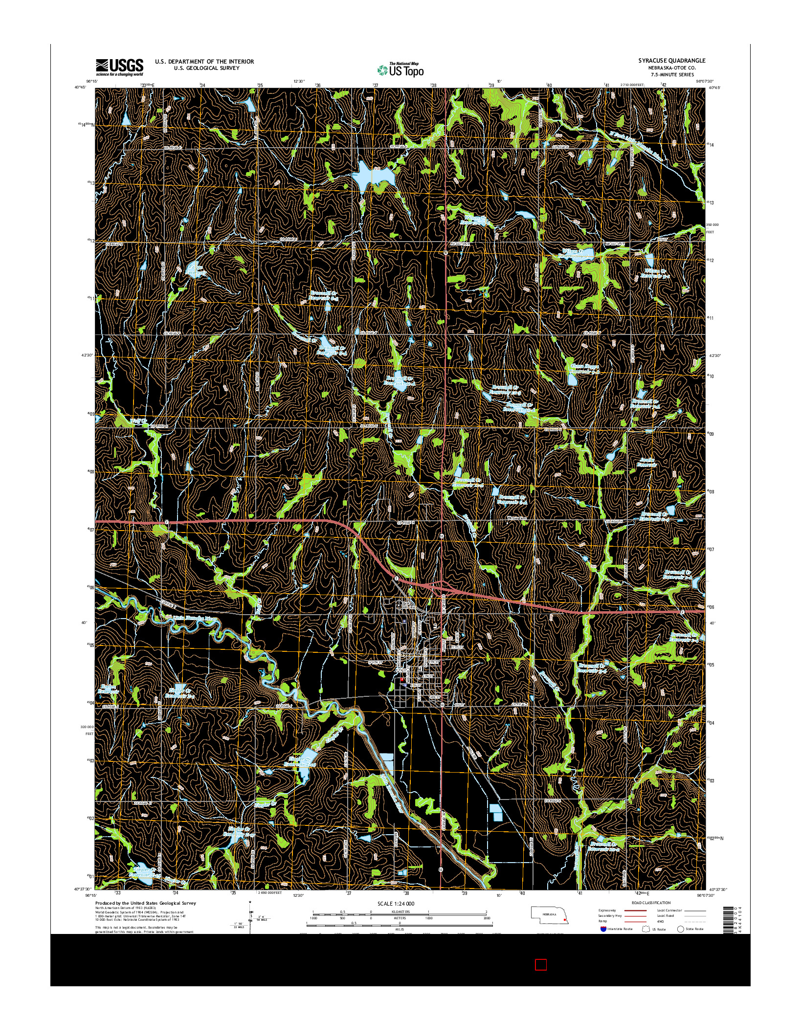USGS US TOPO 7.5-MINUTE MAP FOR SYRACUSE, NE 2014
