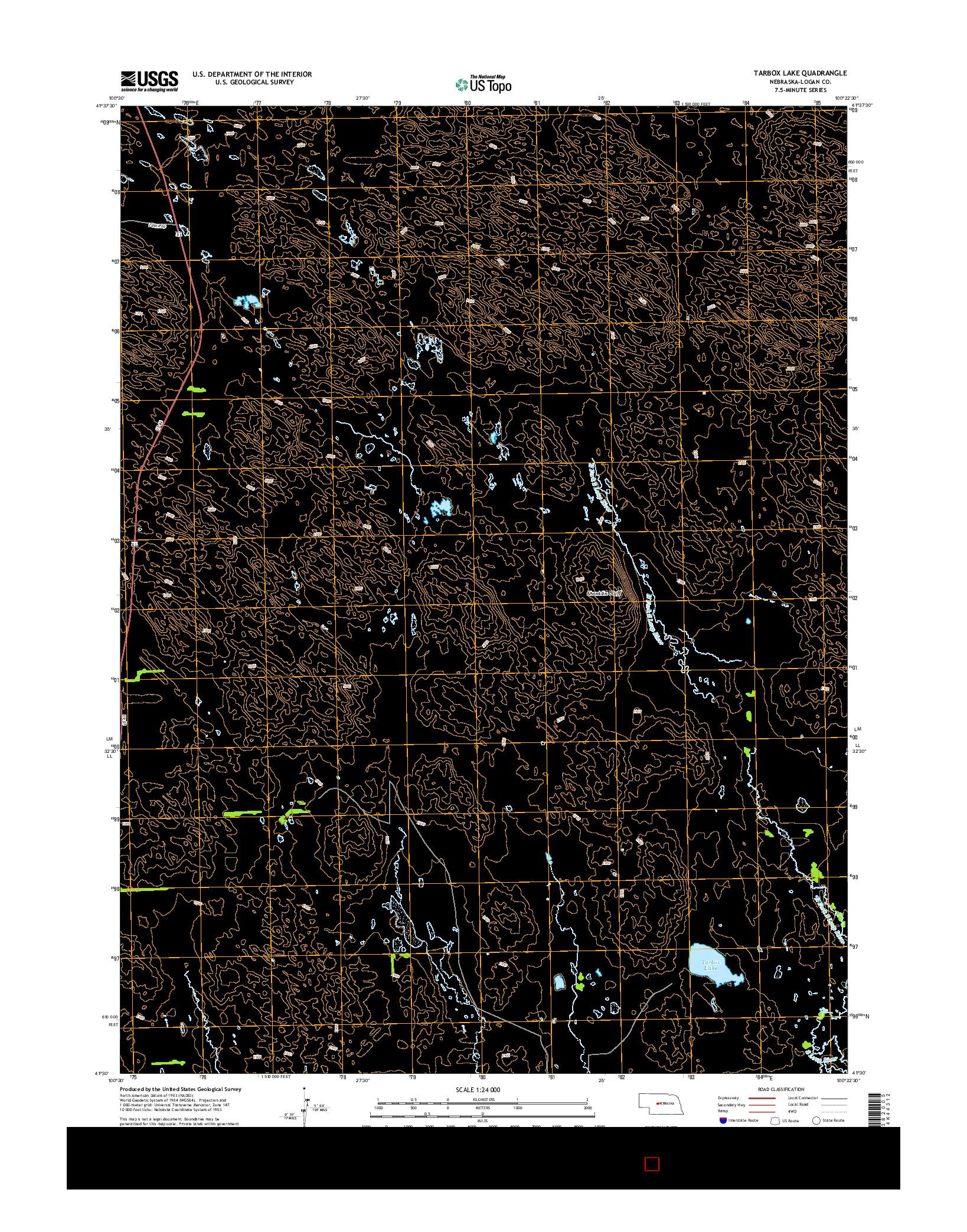 USGS US TOPO 7.5-MINUTE MAP FOR TARBOX LAKE, NE 2014