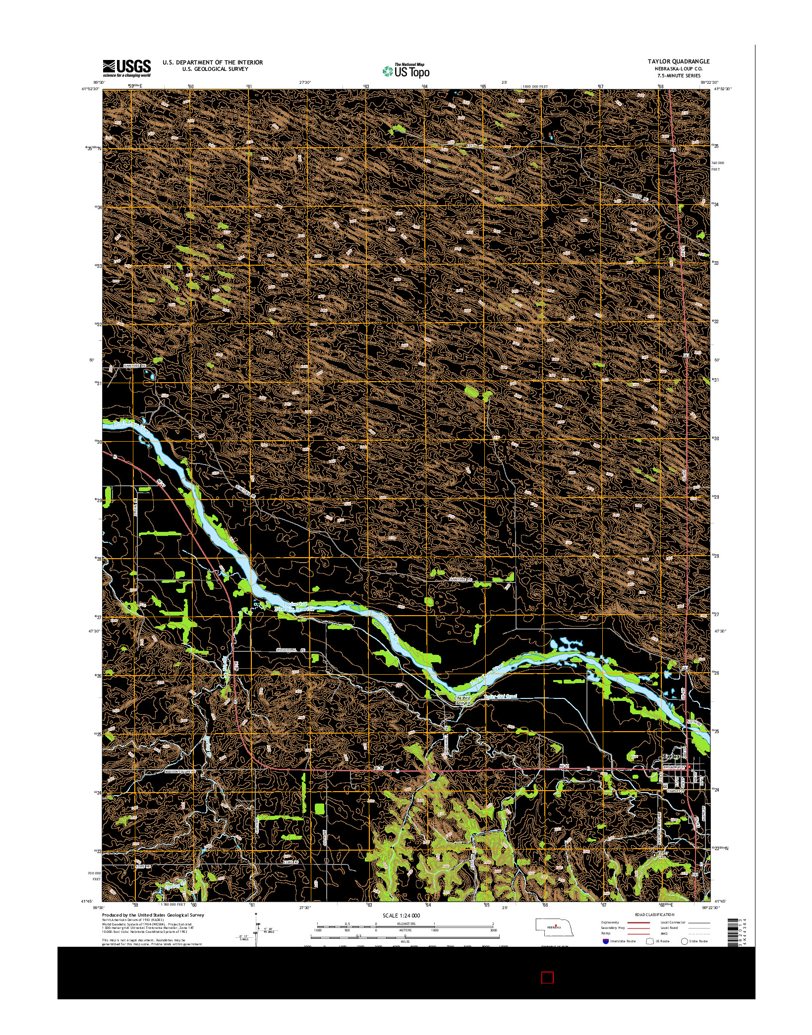 USGS US TOPO 7.5-MINUTE MAP FOR TAYLOR, NE 2014