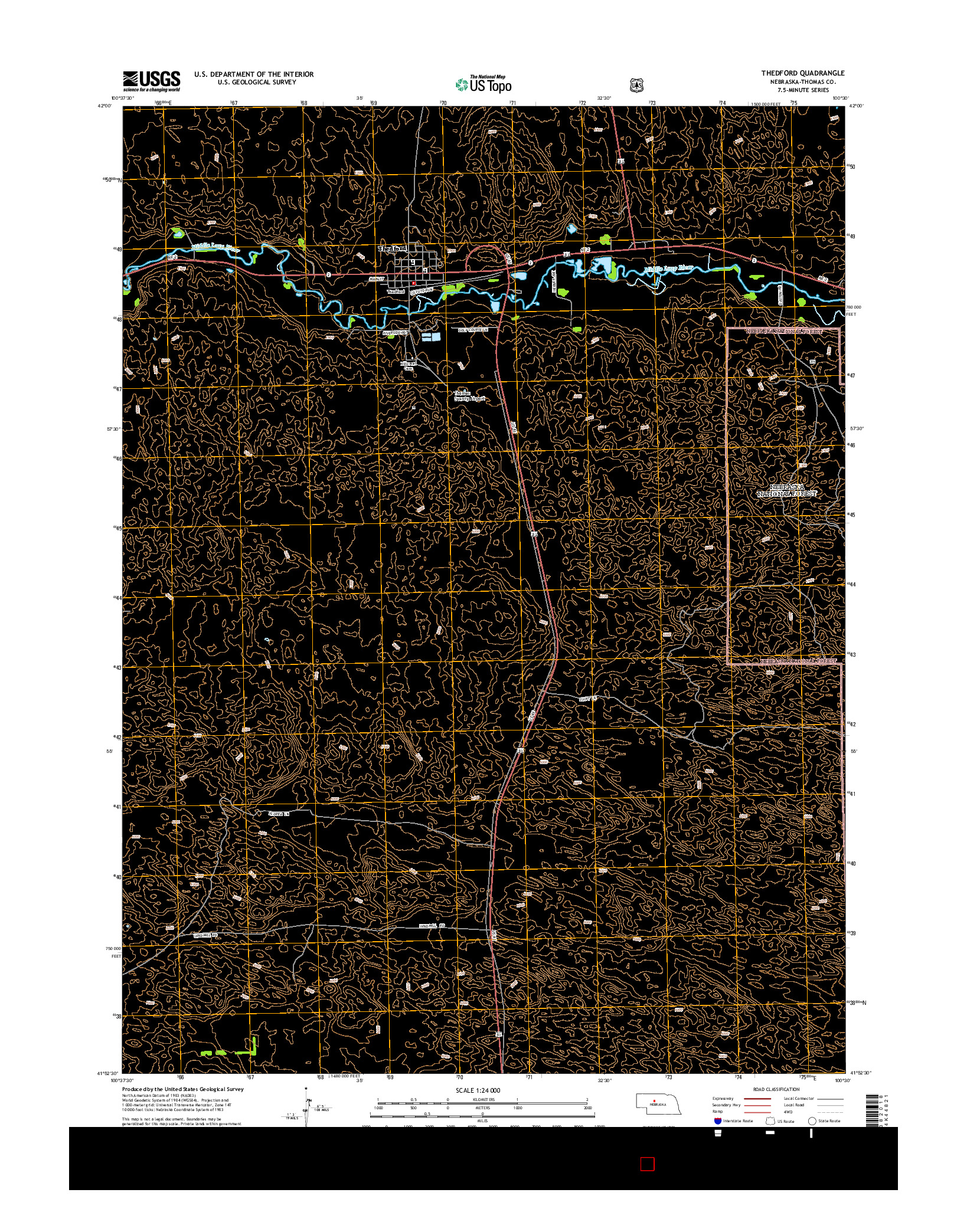 USGS US TOPO 7.5-MINUTE MAP FOR THEDFORD, NE 2014