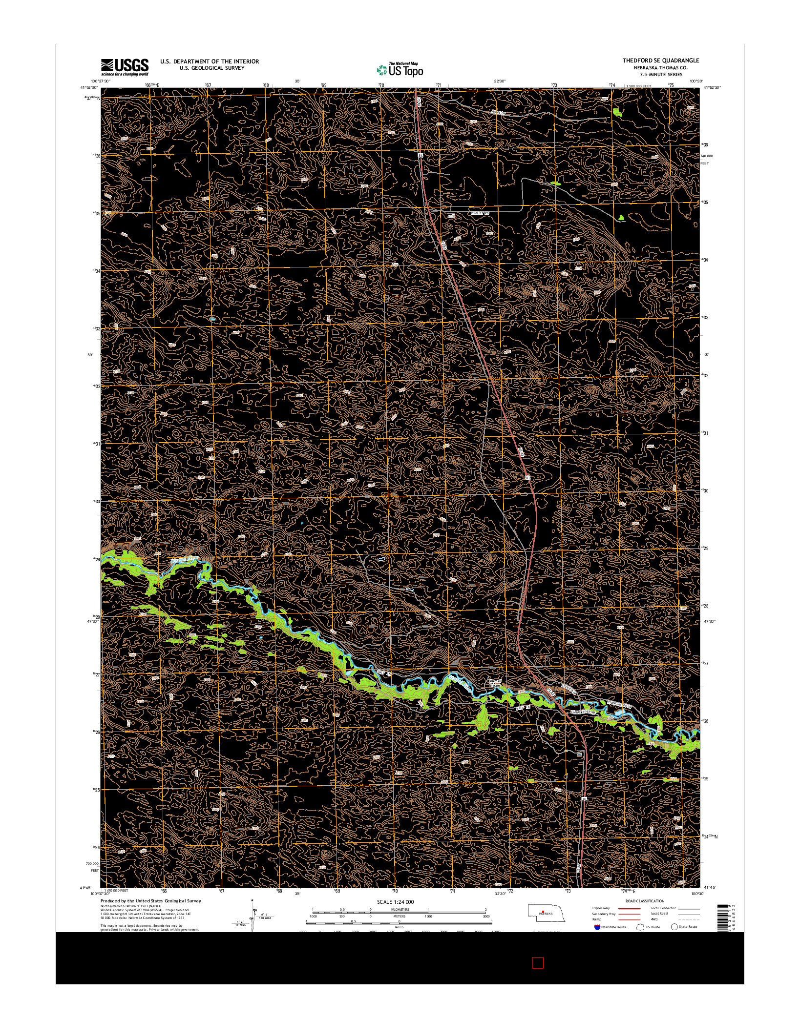 USGS US TOPO 7.5-MINUTE MAP FOR THEDFORD SE, NE 2014
