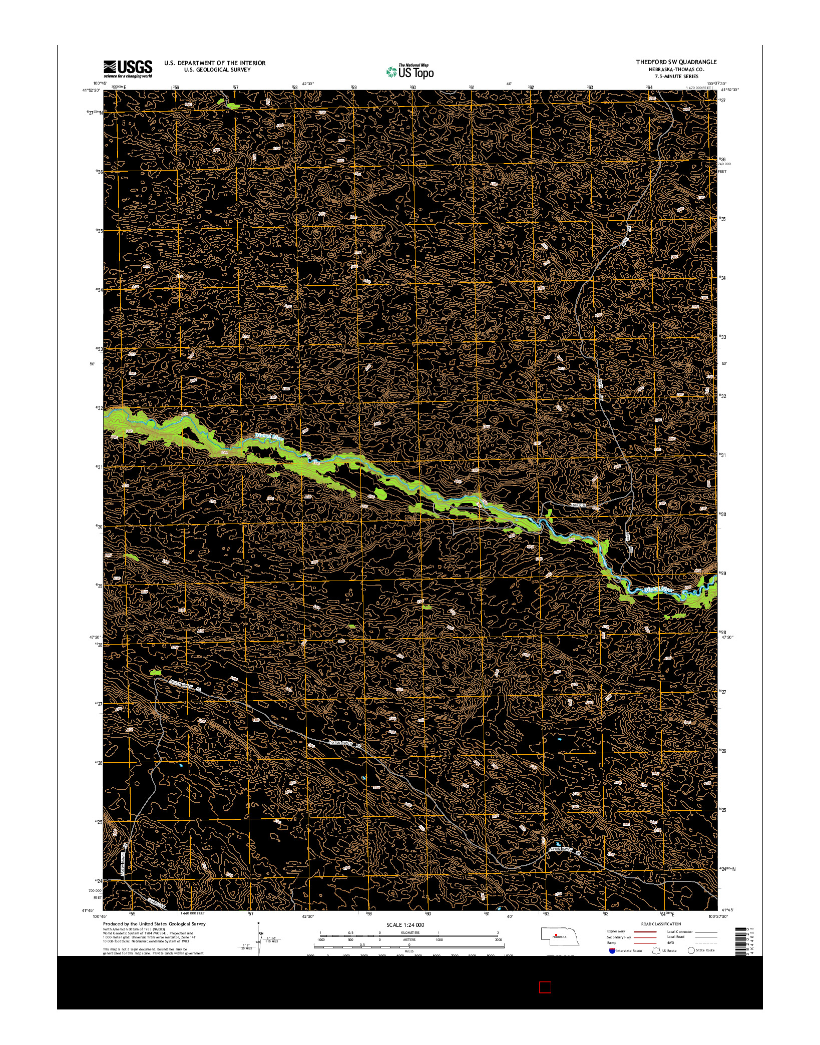 USGS US TOPO 7.5-MINUTE MAP FOR THEDFORD SW, NE 2014
