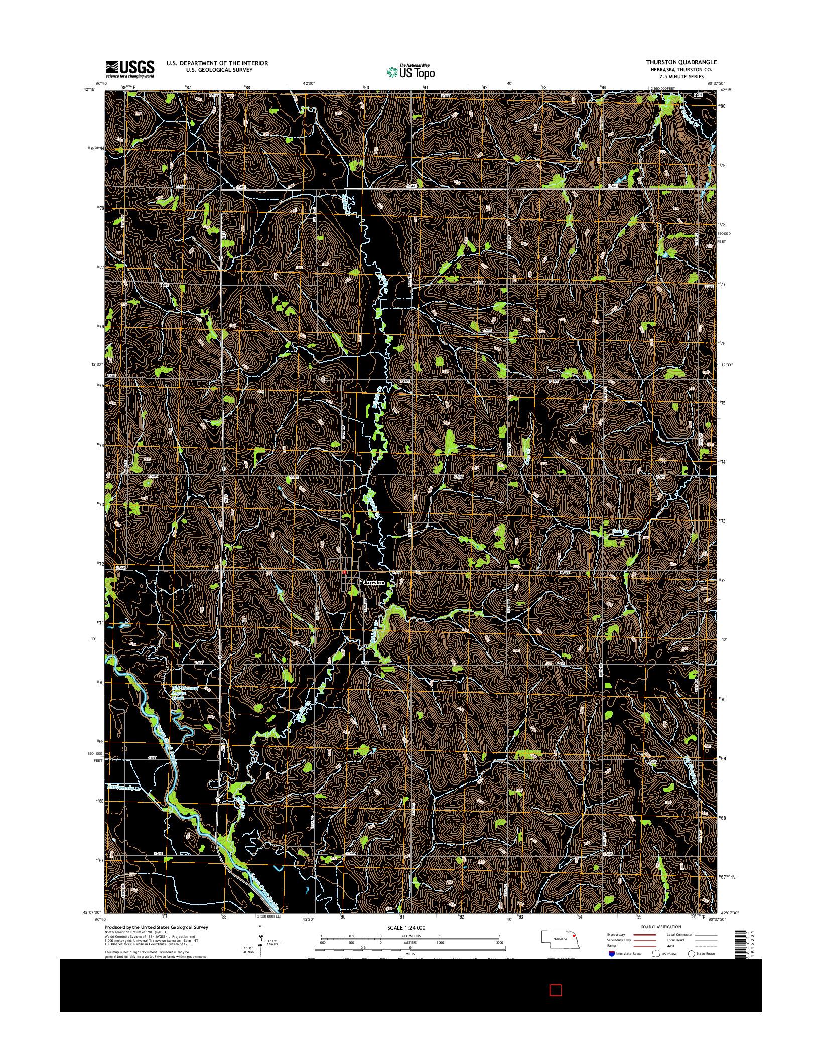 USGS US TOPO 7.5-MINUTE MAP FOR THURSTON, NE 2014