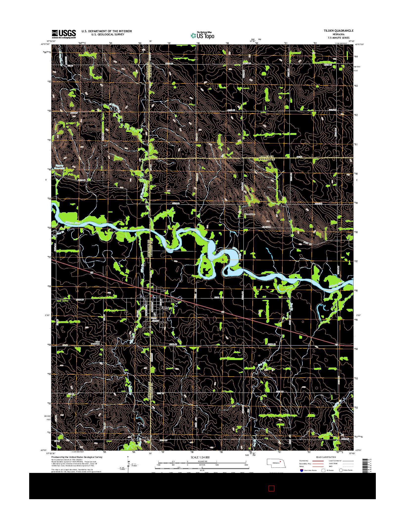 USGS US TOPO 7.5-MINUTE MAP FOR TILDEN, NE 2014