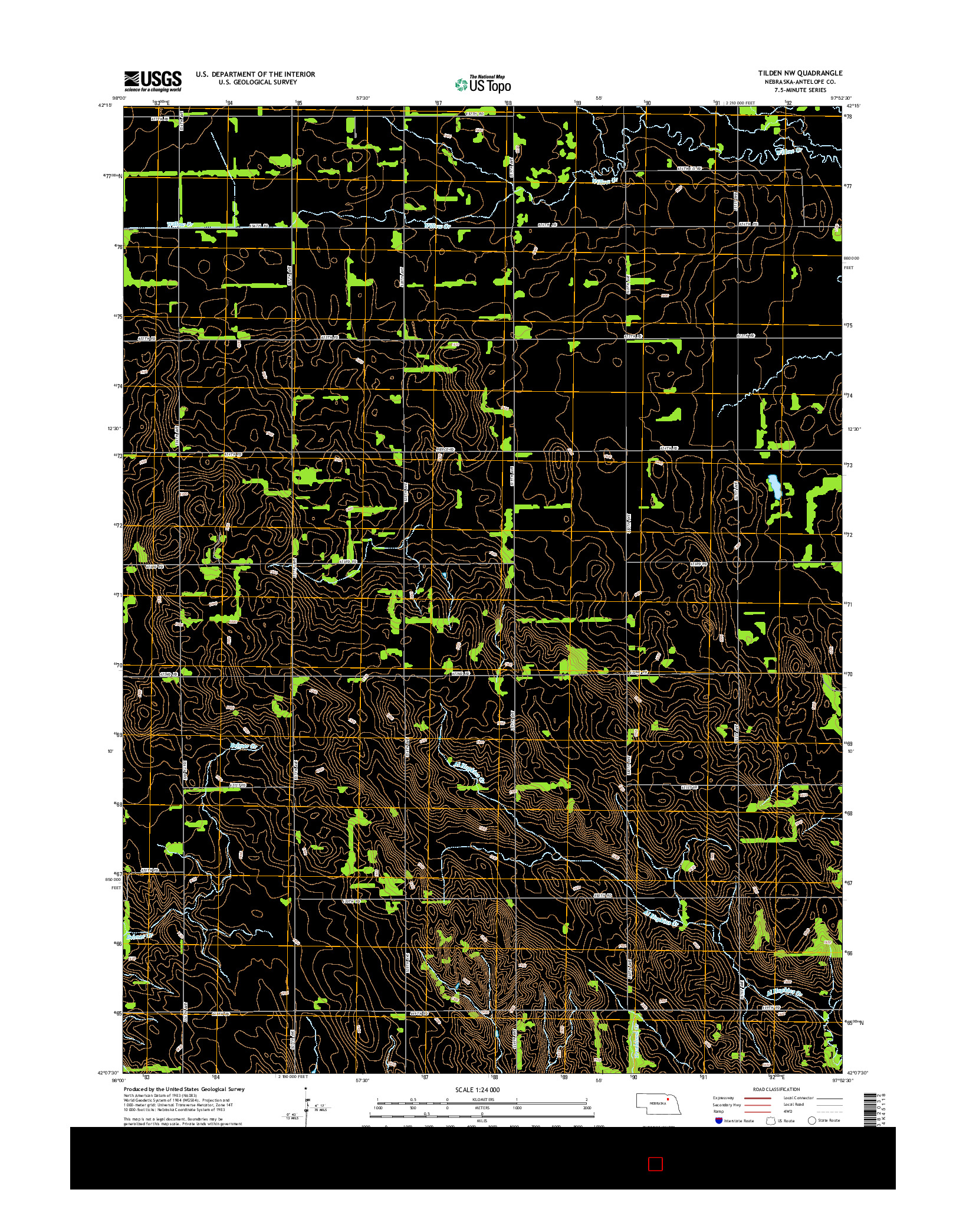 USGS US TOPO 7.5-MINUTE MAP FOR TILDEN NW, NE 2014