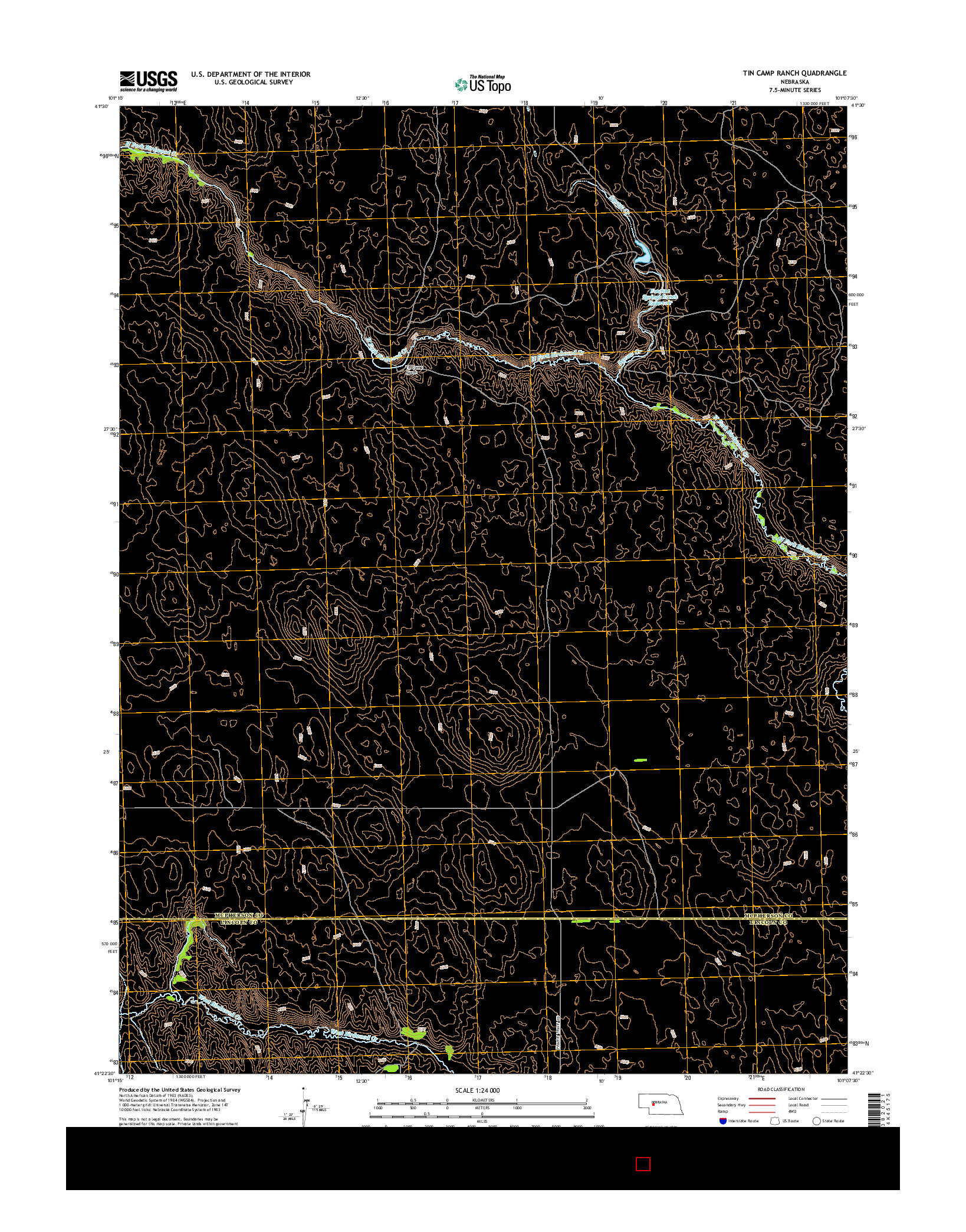 USGS US TOPO 7.5-MINUTE MAP FOR TIN CAMP RANCH, NE 2014