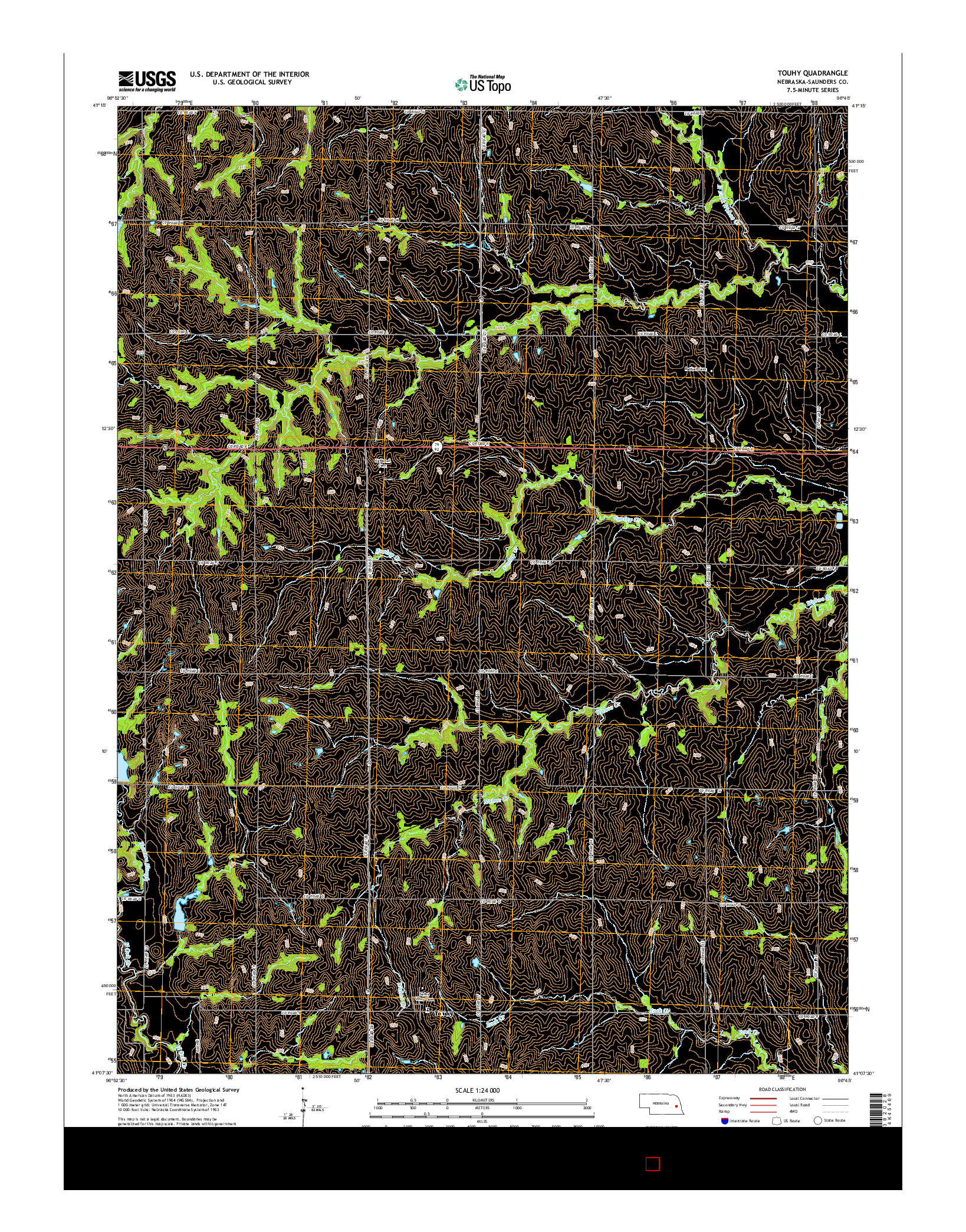 USGS US TOPO 7.5-MINUTE MAP FOR TOUHY, NE 2014