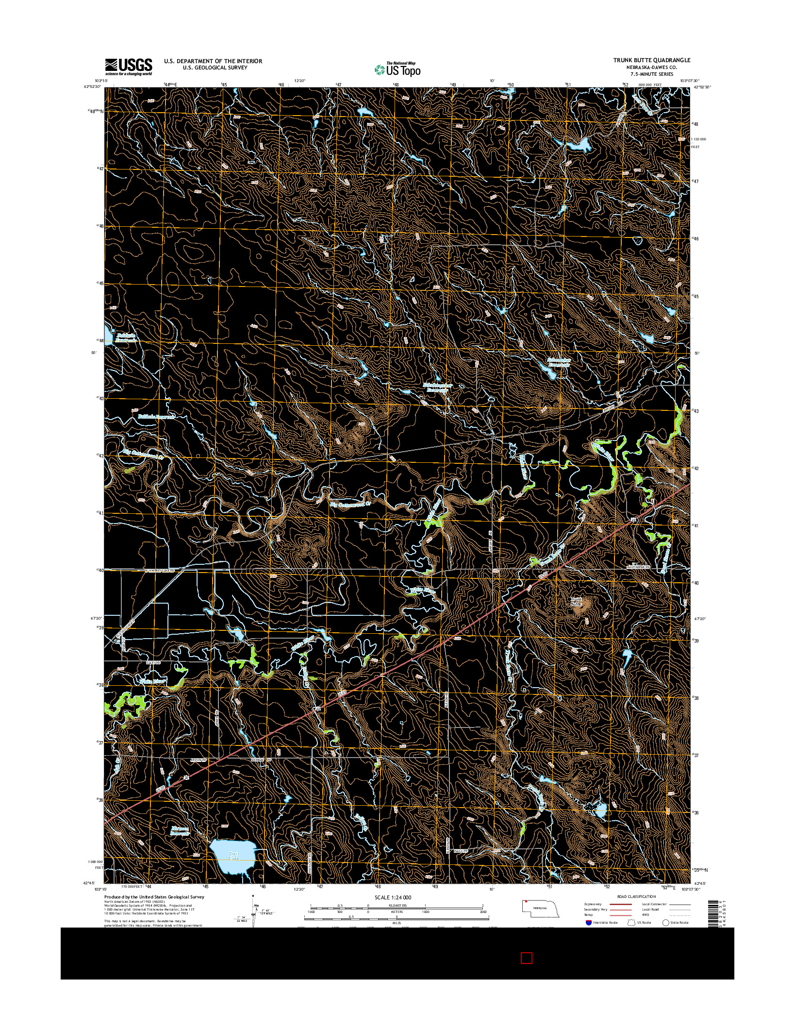 USGS US TOPO 7.5-MINUTE MAP FOR TRUNK BUTTE, NE 2014