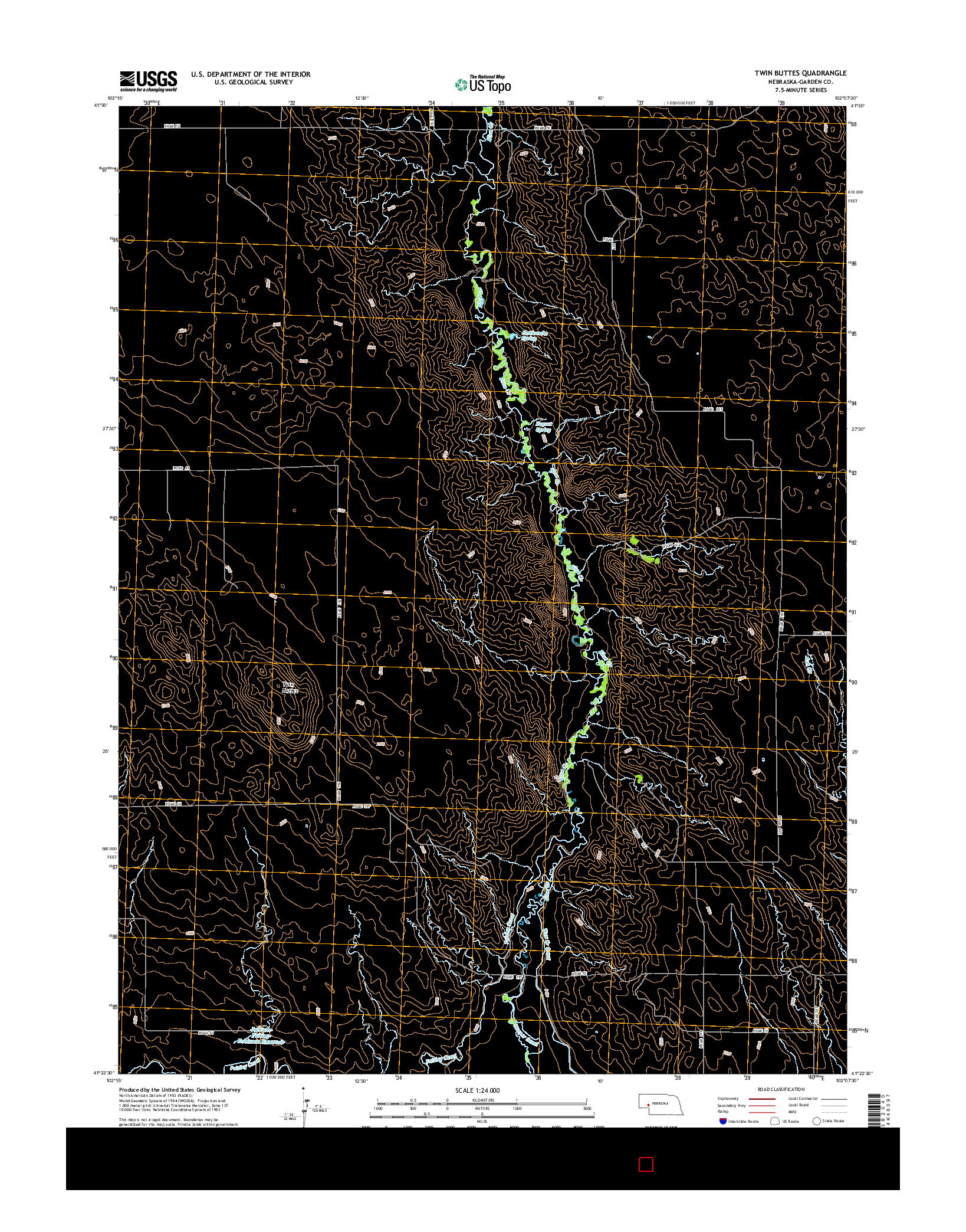 USGS US TOPO 7.5-MINUTE MAP FOR TWIN BUTTES, NE 2014
