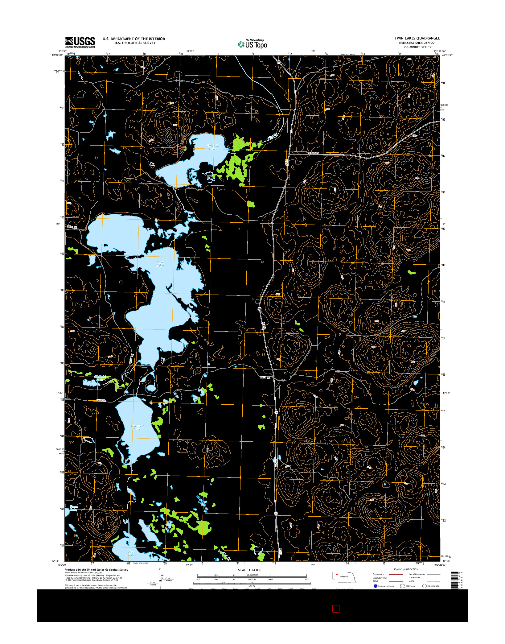 USGS US TOPO 7.5-MINUTE MAP FOR TWIN LAKES, NE 2014