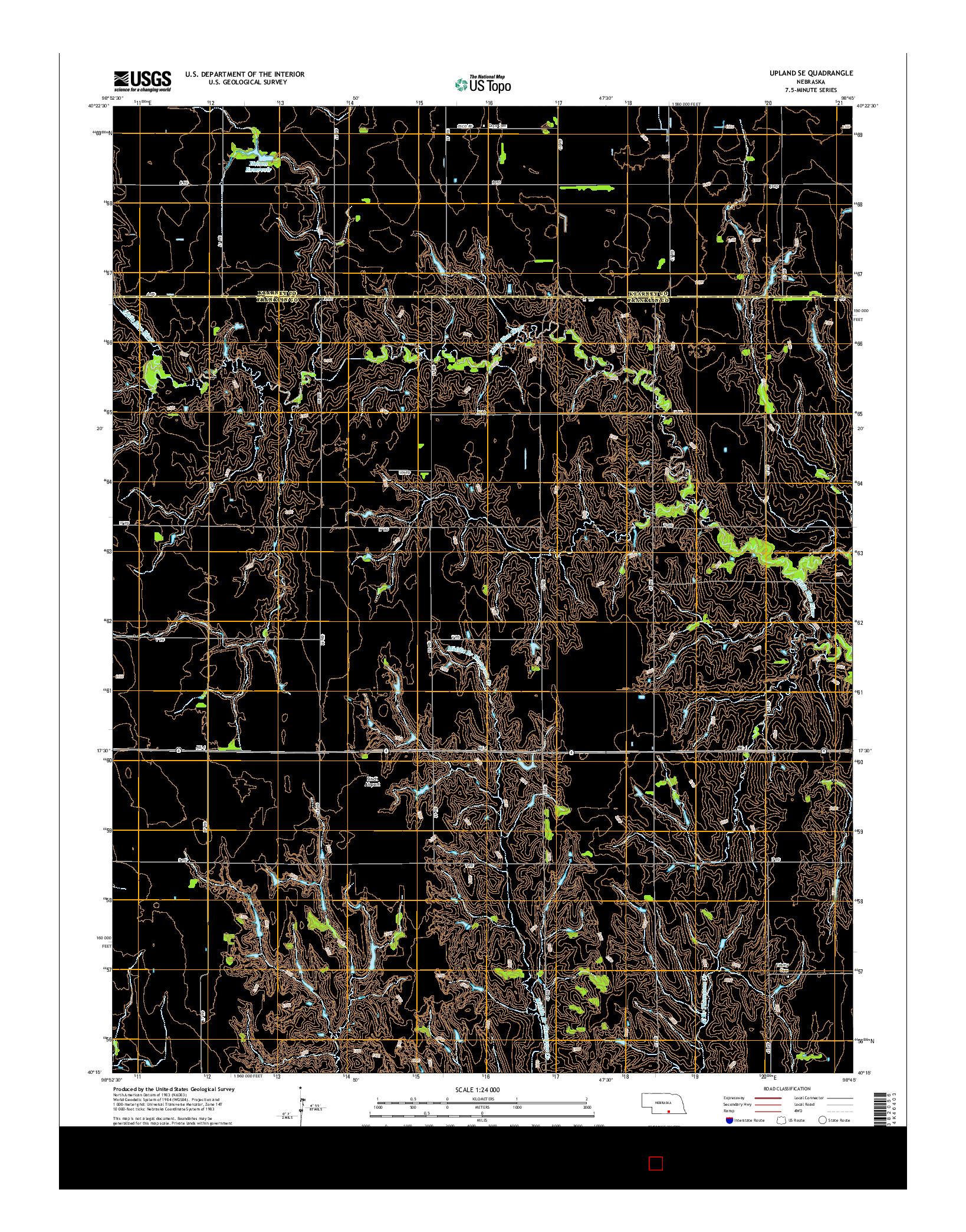USGS US TOPO 7.5-MINUTE MAP FOR UPLAND SE, NE 2014