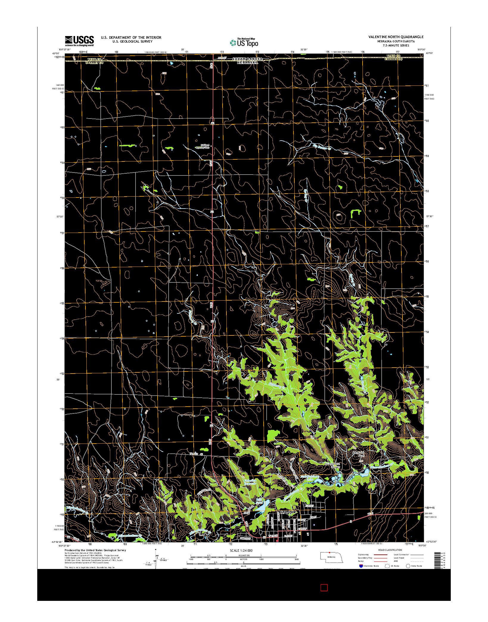 USGS US TOPO 7.5-MINUTE MAP FOR VALENTINE NORTH, NE-SD 2014