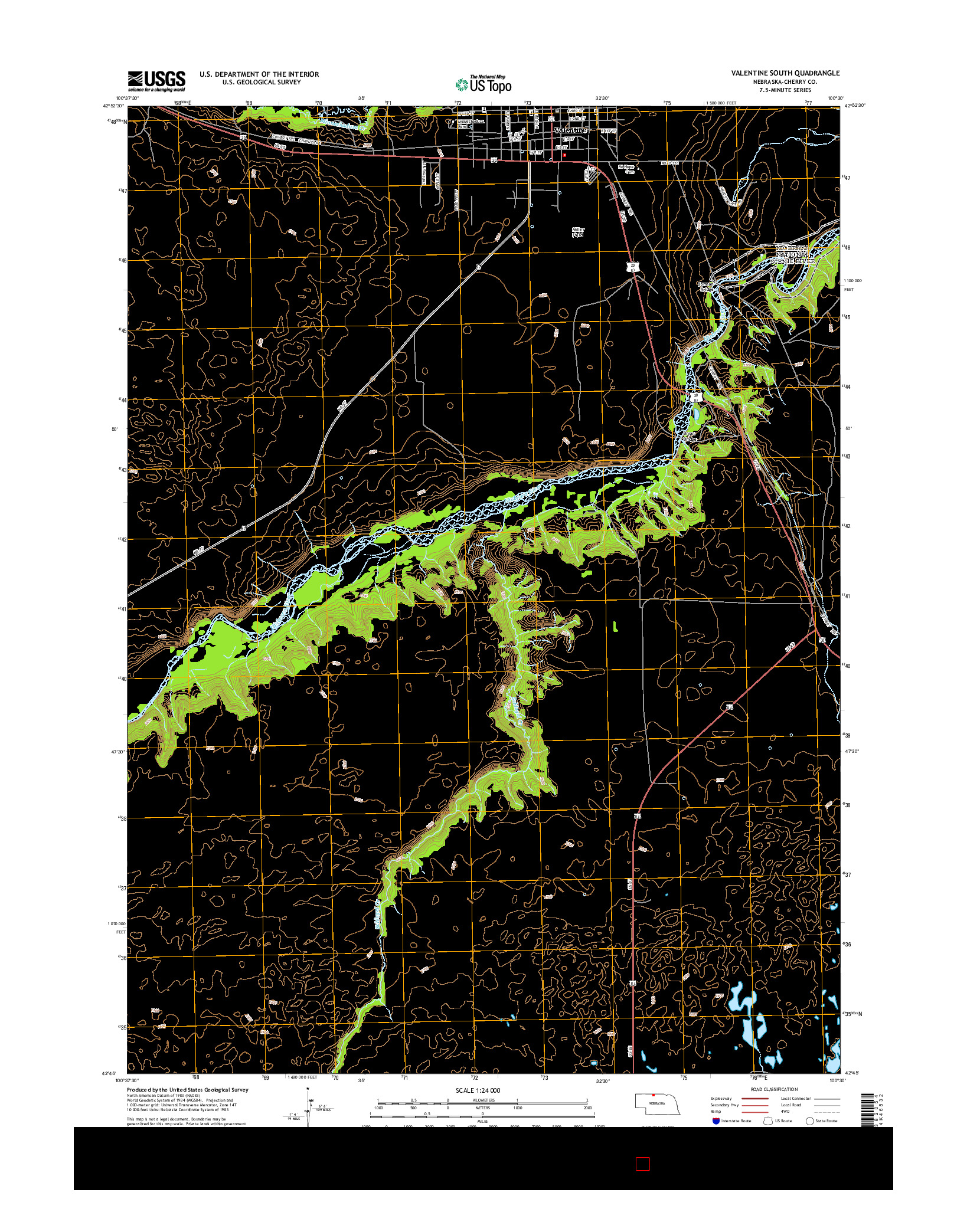 USGS US TOPO 7.5-MINUTE MAP FOR VALENTINE SOUTH, NE 2014