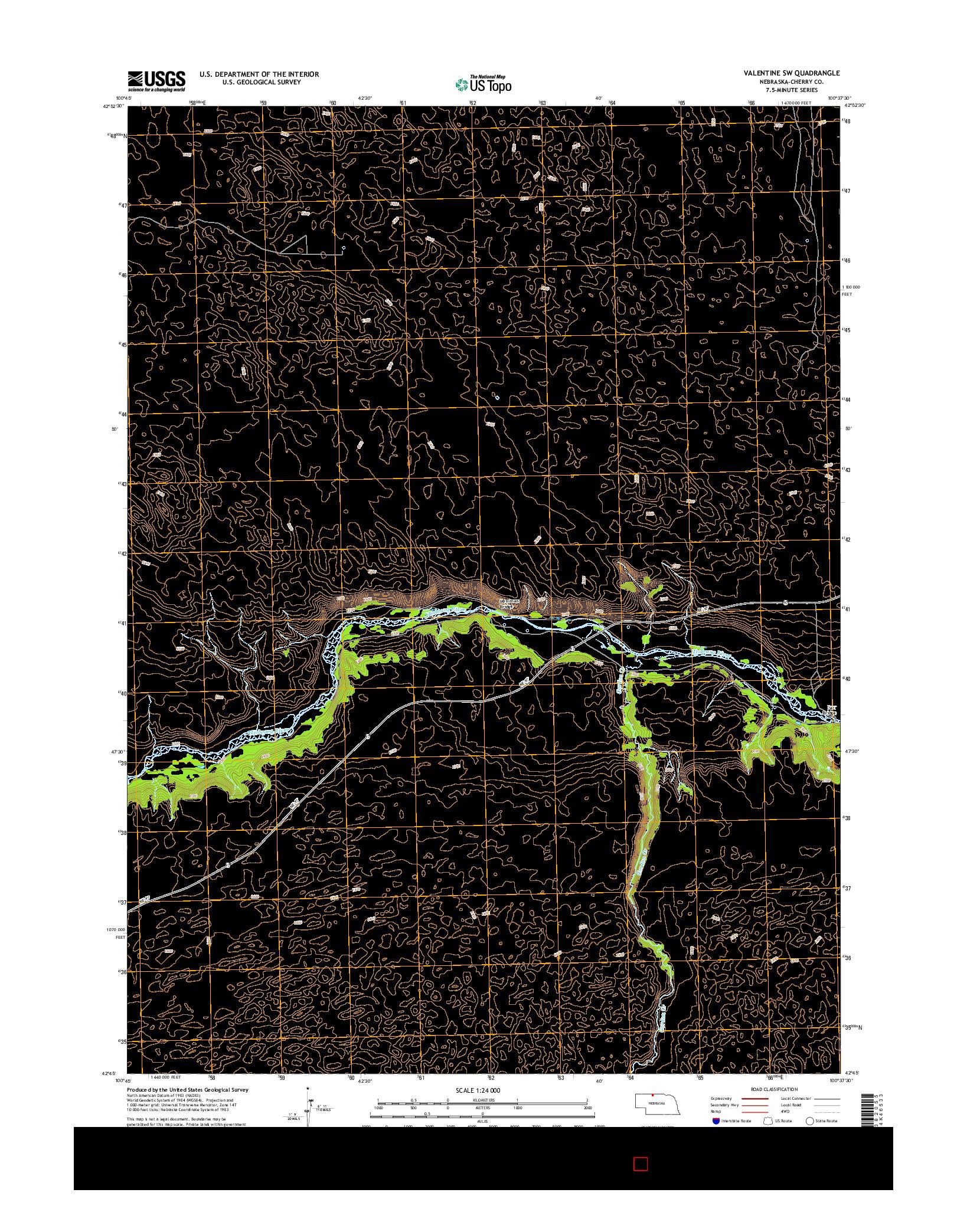 USGS US TOPO 7.5-MINUTE MAP FOR VALENTINE SW, NE 2014