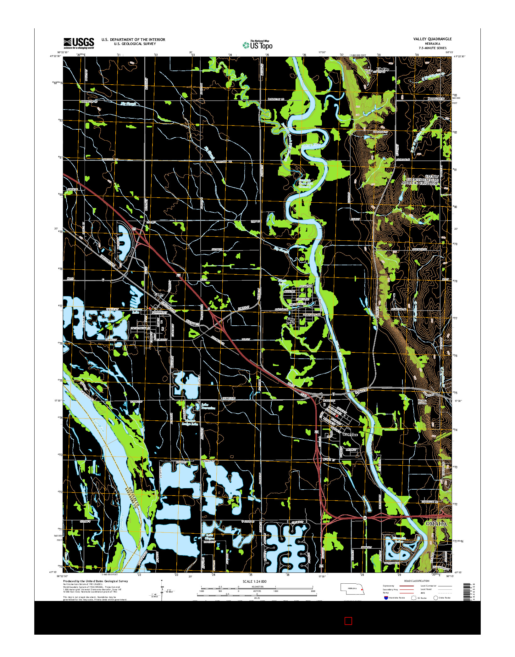 USGS US TOPO 7.5-MINUTE MAP FOR VALLEY, NE 2014