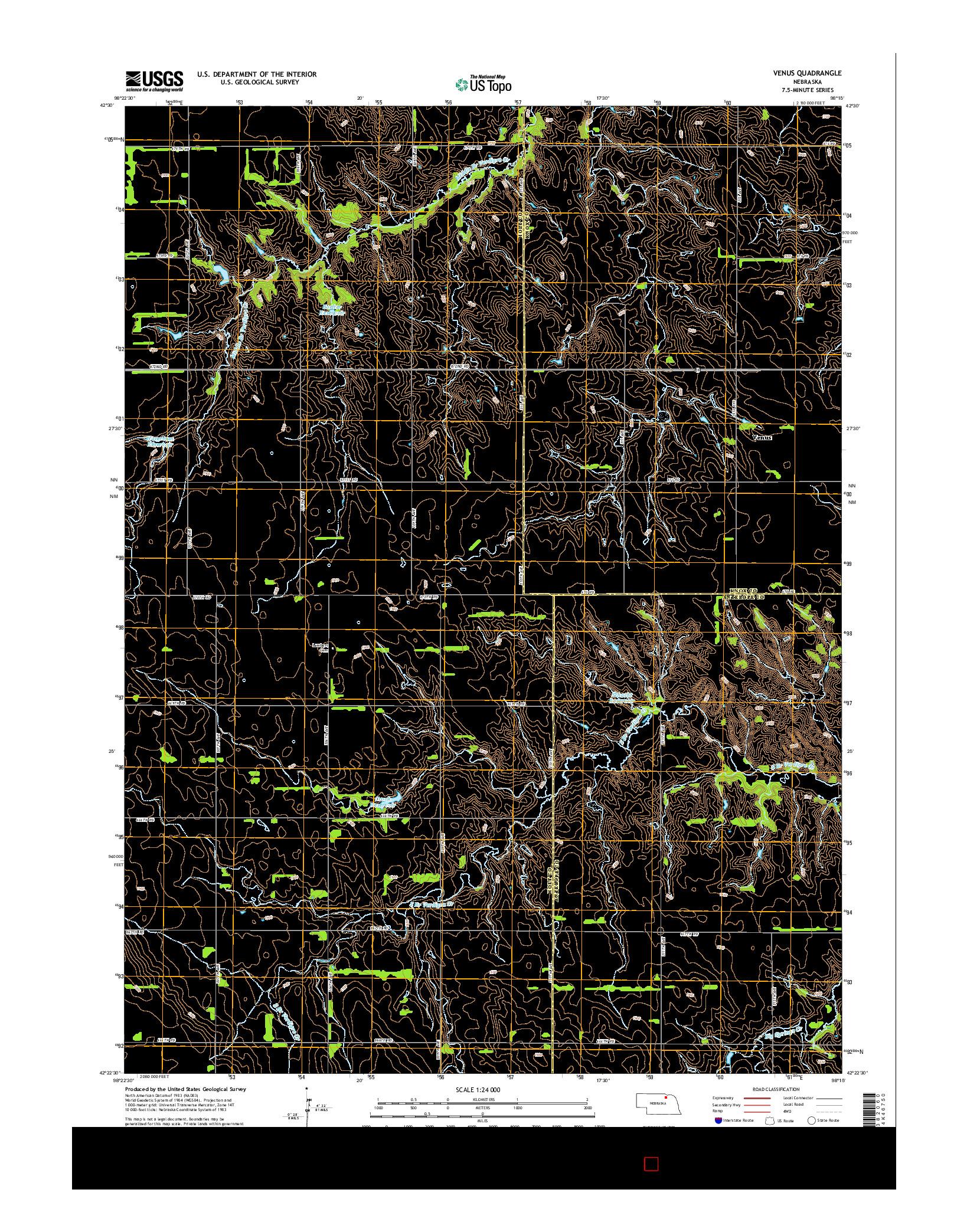 USGS US TOPO 7.5-MINUTE MAP FOR VENUS, NE 2014