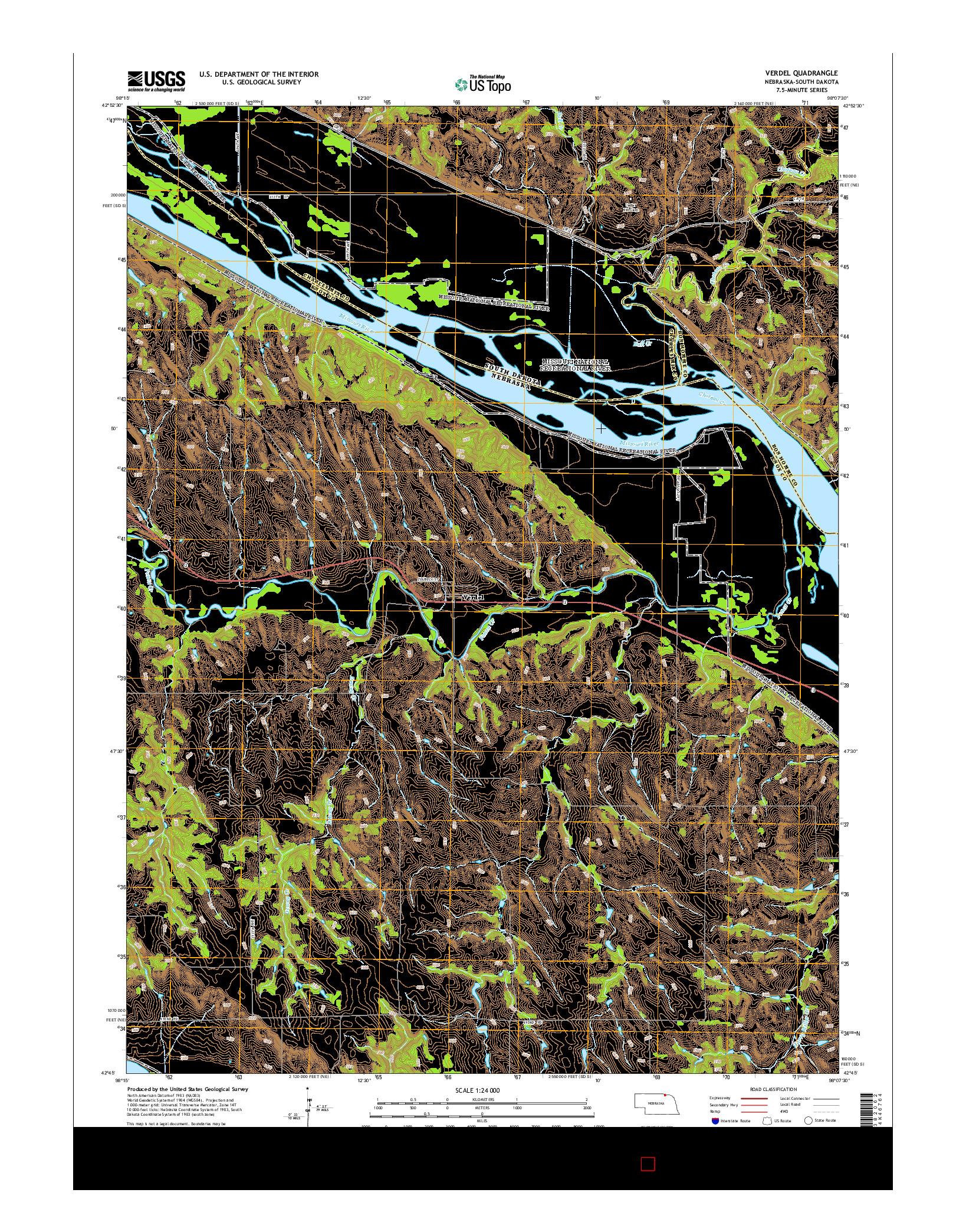 USGS US TOPO 7.5-MINUTE MAP FOR VERDEL, NE-SD 2014