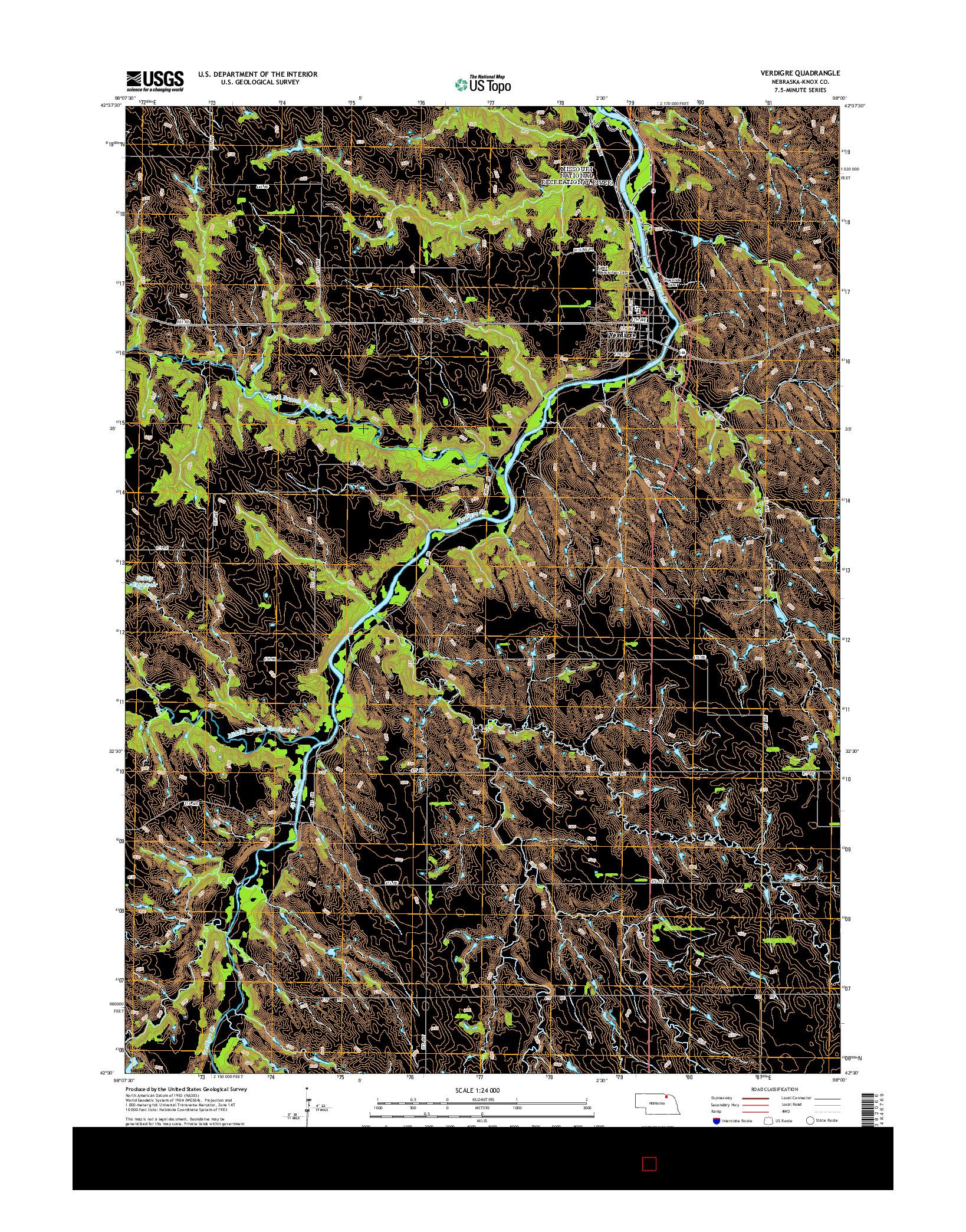 USGS US TOPO 7.5-MINUTE MAP FOR VERDIGRE, NE 2014