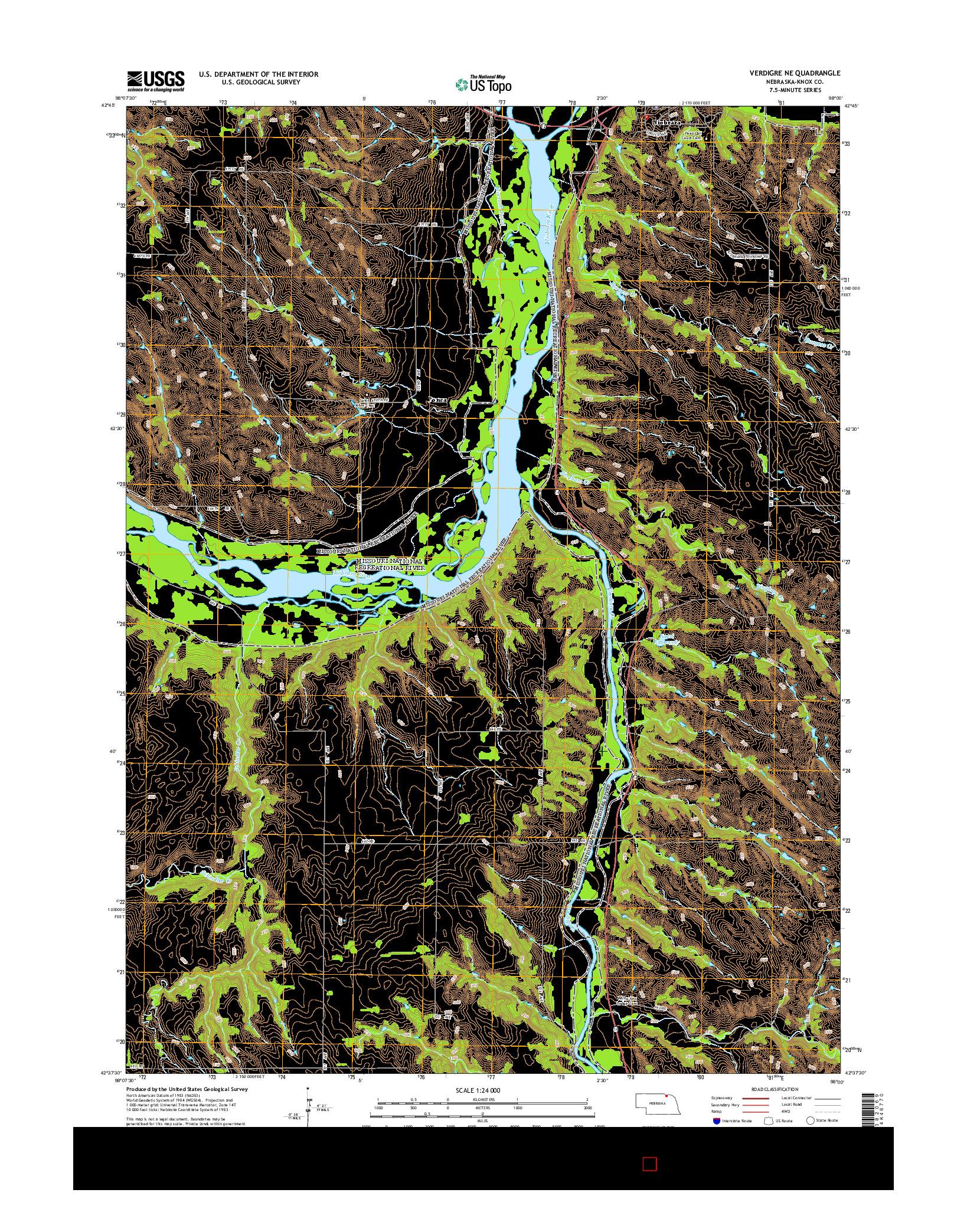 USGS US TOPO 7.5-MINUTE MAP FOR VERDIGRE NE, NE 2014
