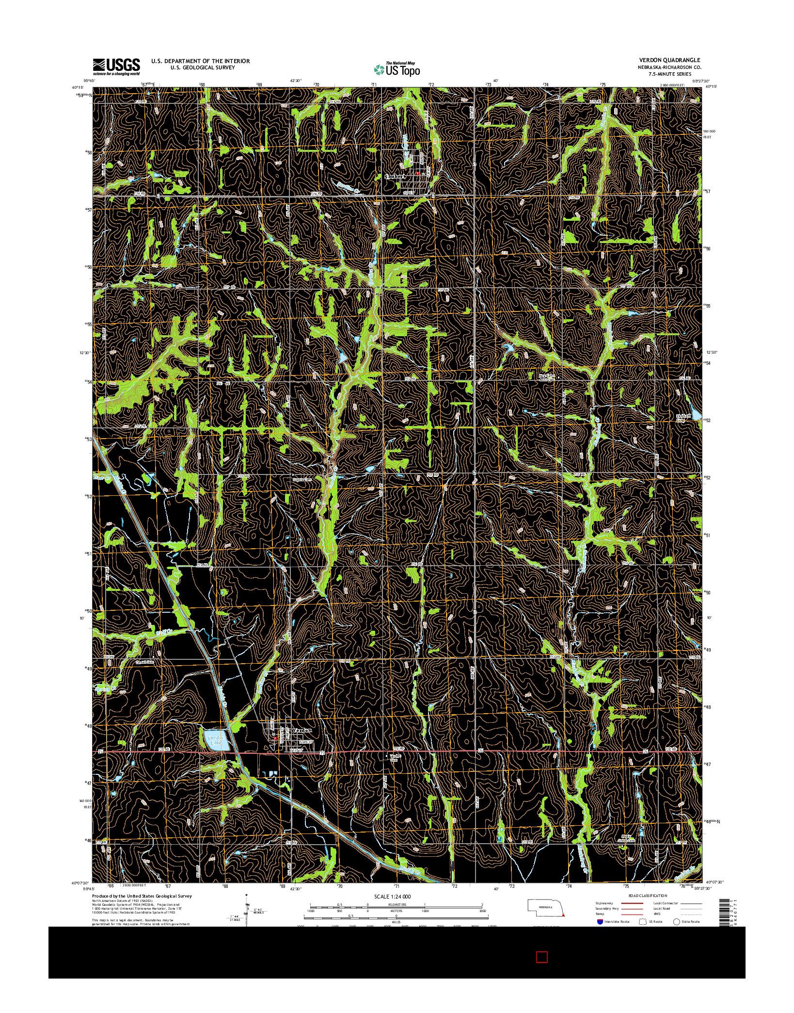USGS US TOPO 7.5-MINUTE MAP FOR VERDON, NE 2014