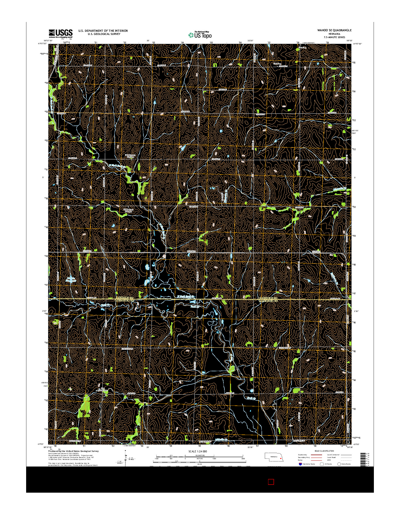 USGS US TOPO 7.5-MINUTE MAP FOR WAHOO SE, NE 2014