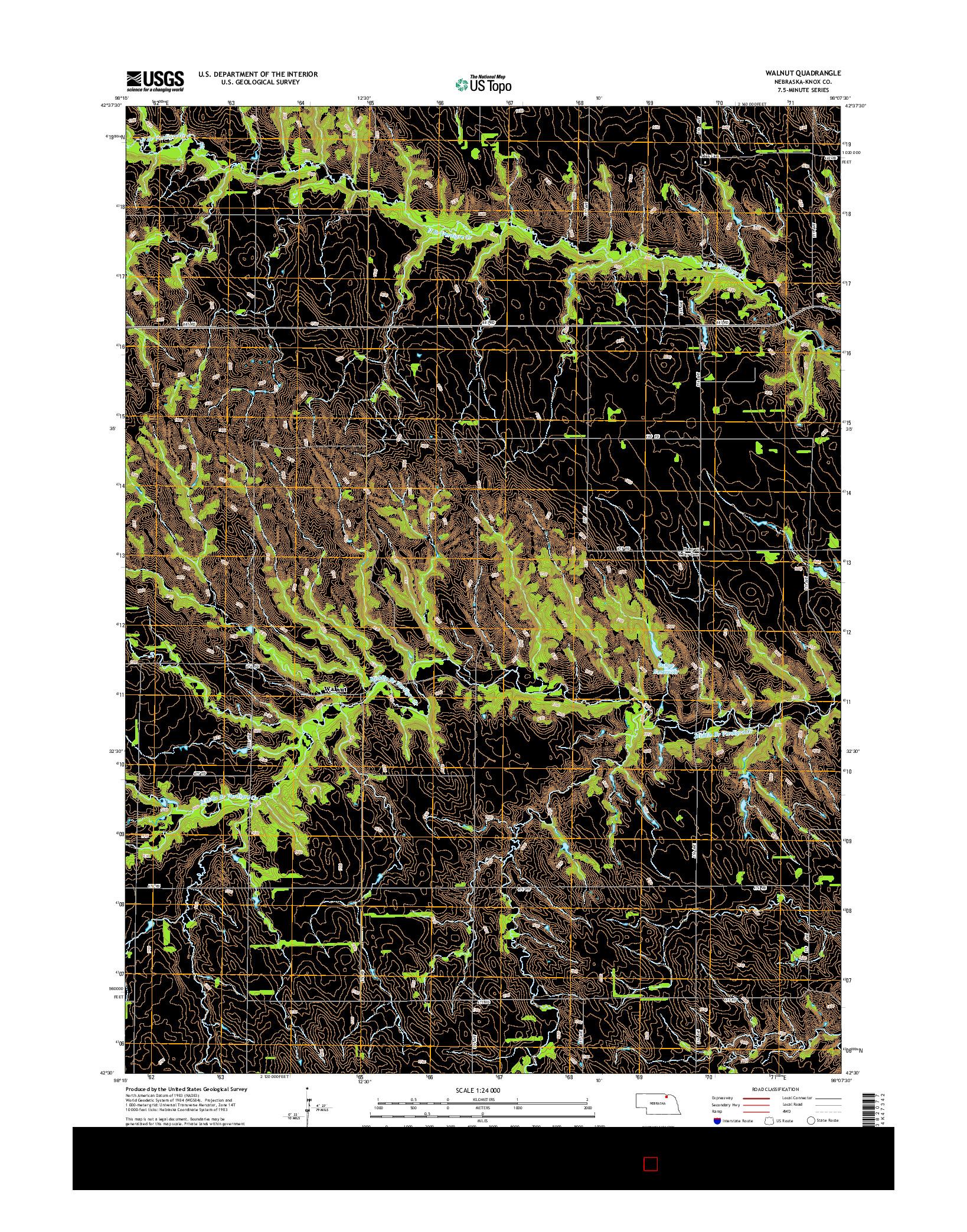 USGS US TOPO 7.5-MINUTE MAP FOR WALNUT, NE 2014