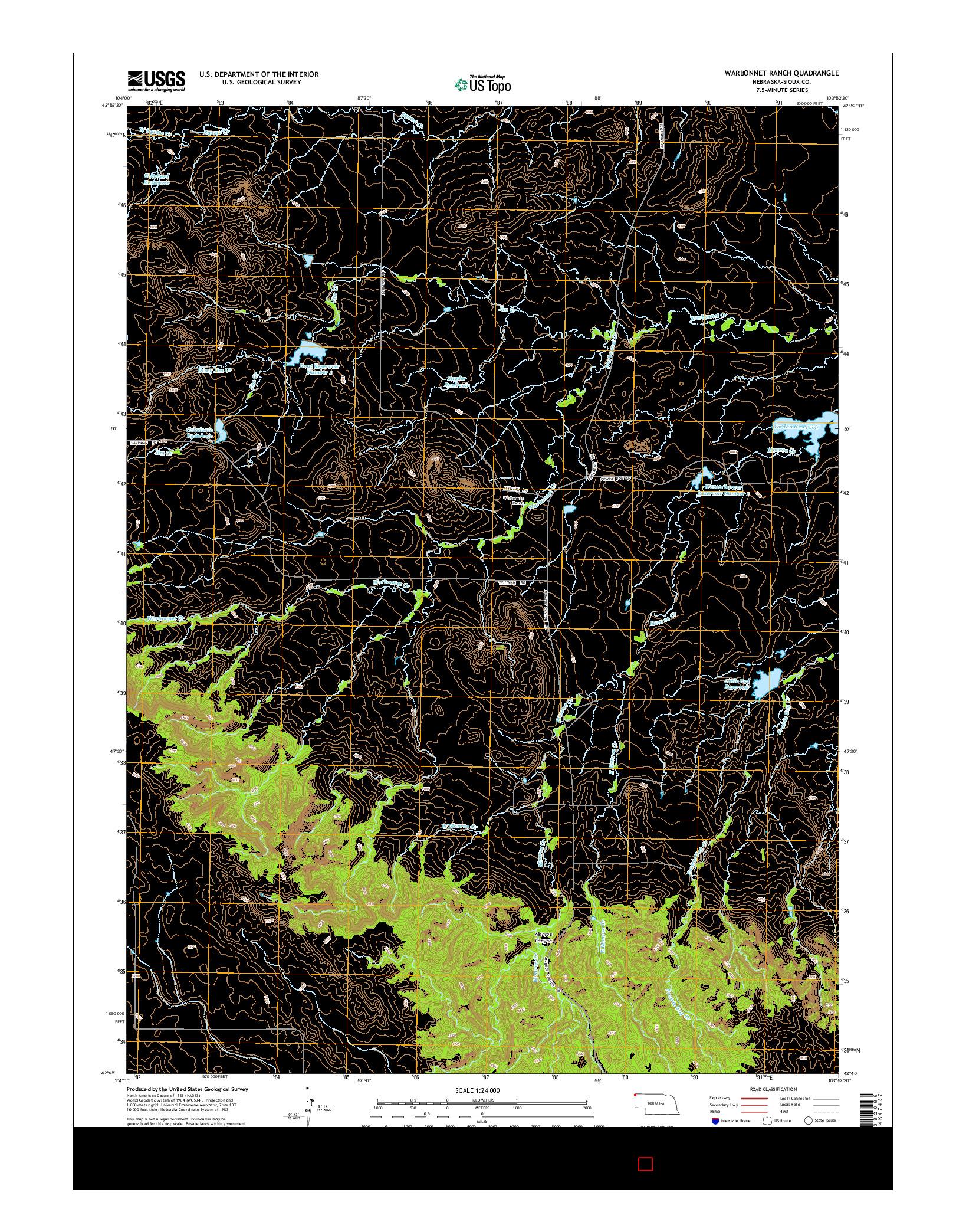 USGS US TOPO 7.5-MINUTE MAP FOR WARBONNET RANCH, NE 2014