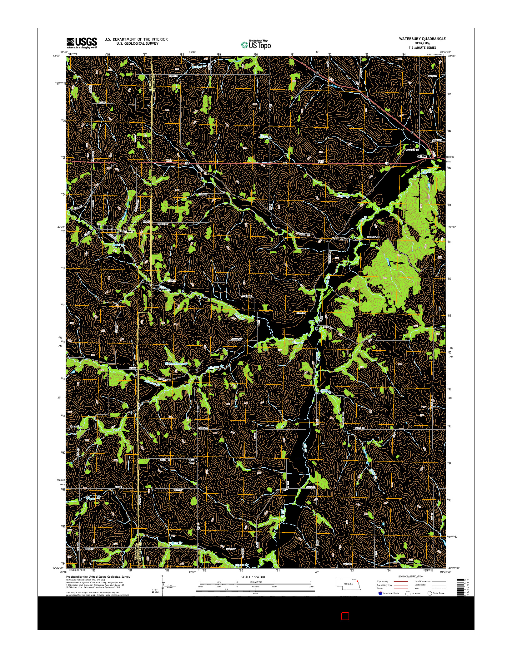 USGS US TOPO 7.5-MINUTE MAP FOR WATERBURY, NE 2014