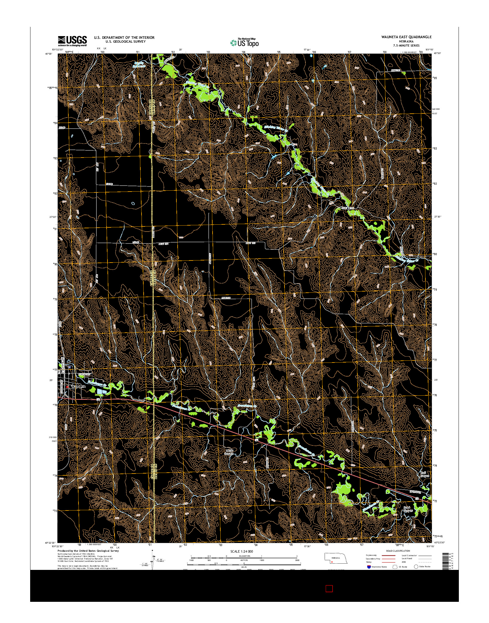 USGS US TOPO 7.5-MINUTE MAP FOR WAUNETA EAST, NE 2014