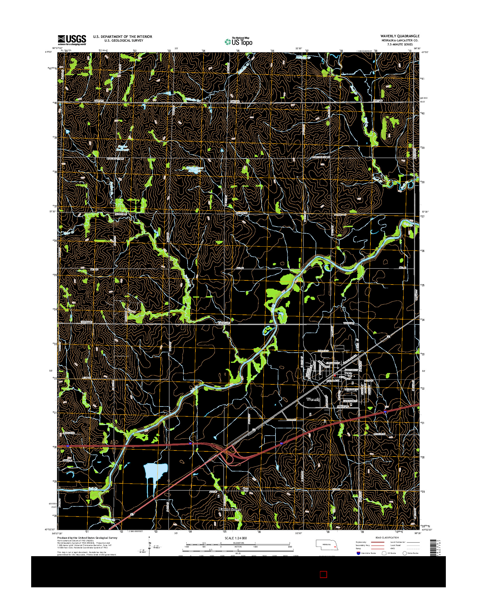 USGS US TOPO 7.5-MINUTE MAP FOR WAVERLY, NE 2014
