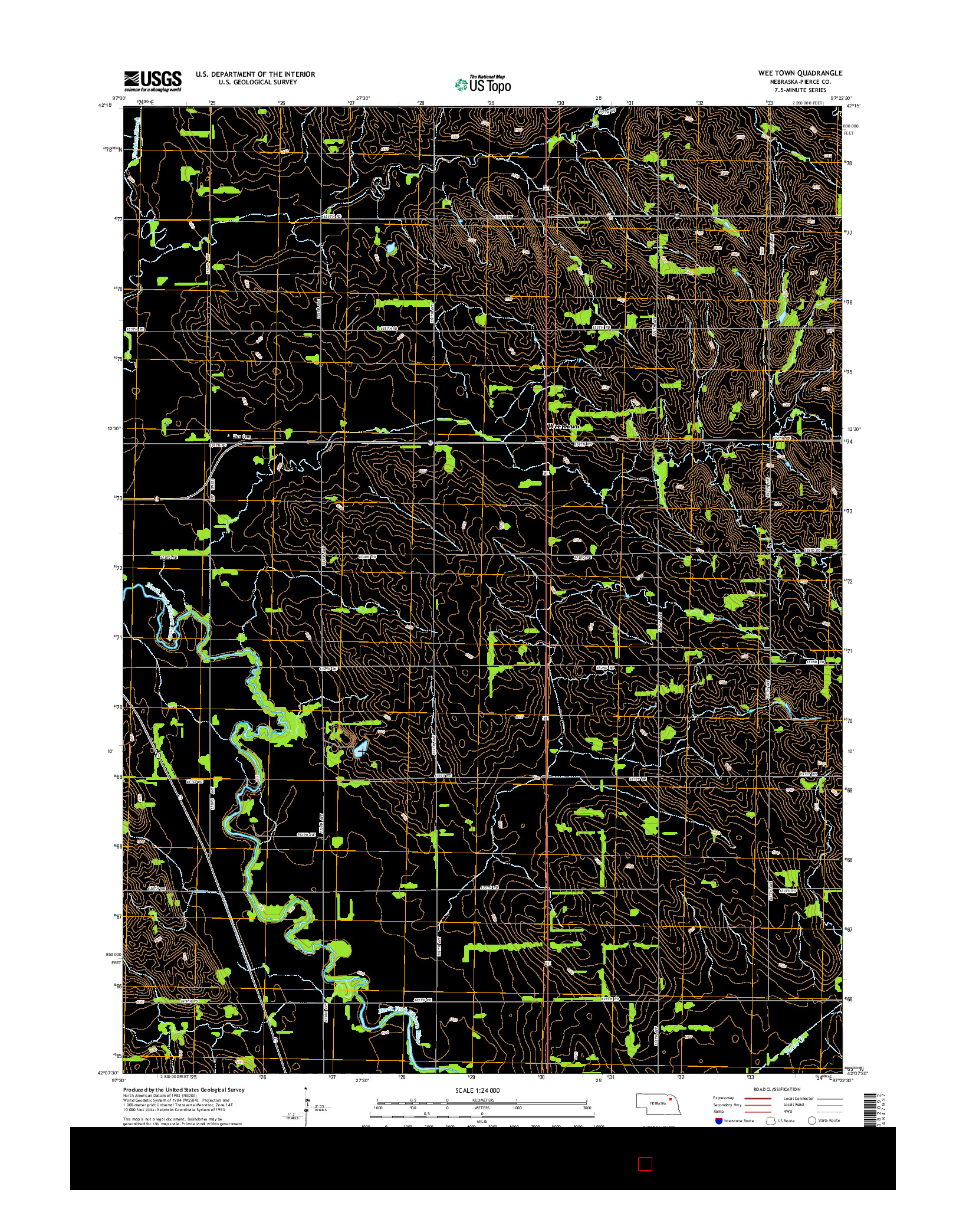 USGS US TOPO 7.5-MINUTE MAP FOR WEE TOWN, NE 2014