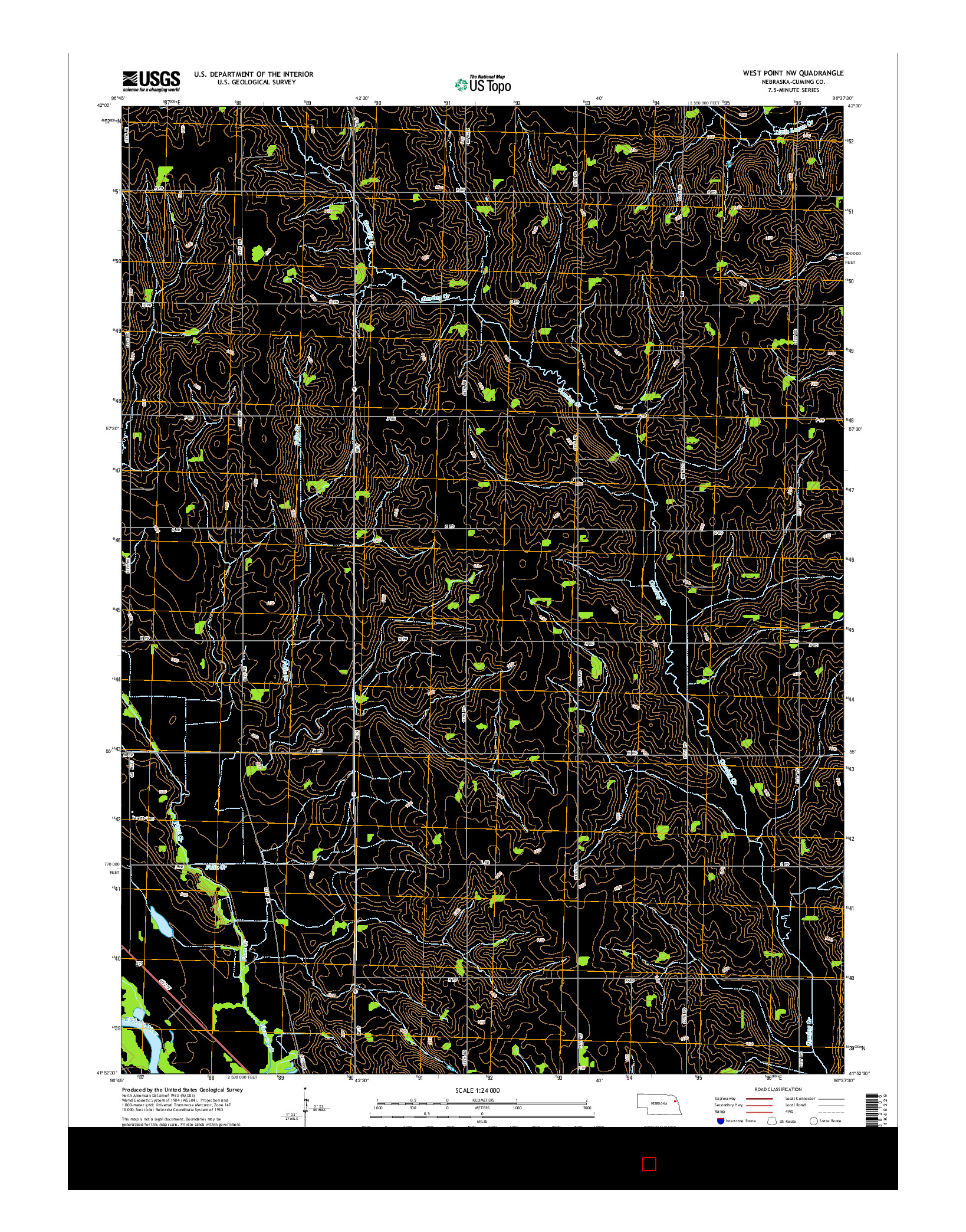 USGS US TOPO 7.5-MINUTE MAP FOR WEST POINT NW, NE 2014