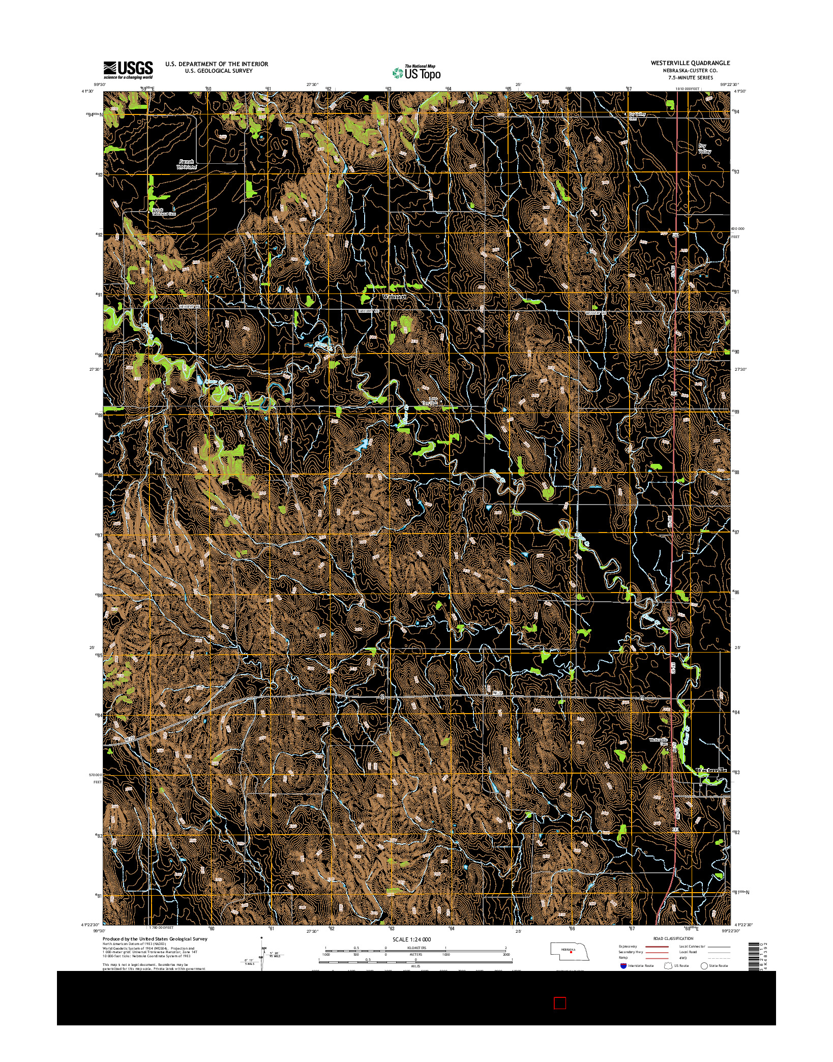 USGS US TOPO 7.5-MINUTE MAP FOR WESTERVILLE, NE 2014
