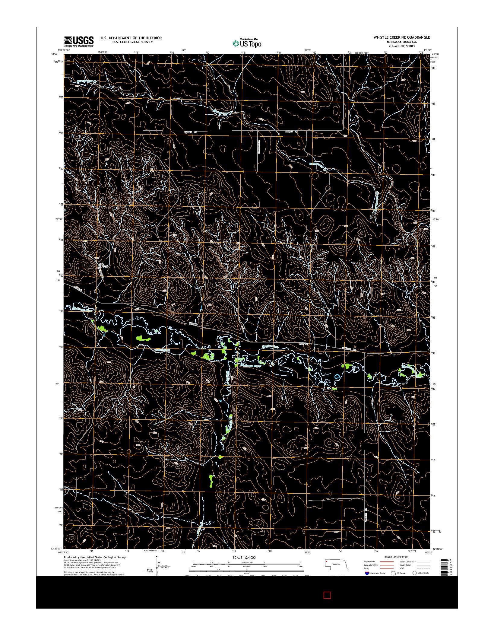 USGS US TOPO 7.5-MINUTE MAP FOR WHISTLE CREEK NE, NE 2014