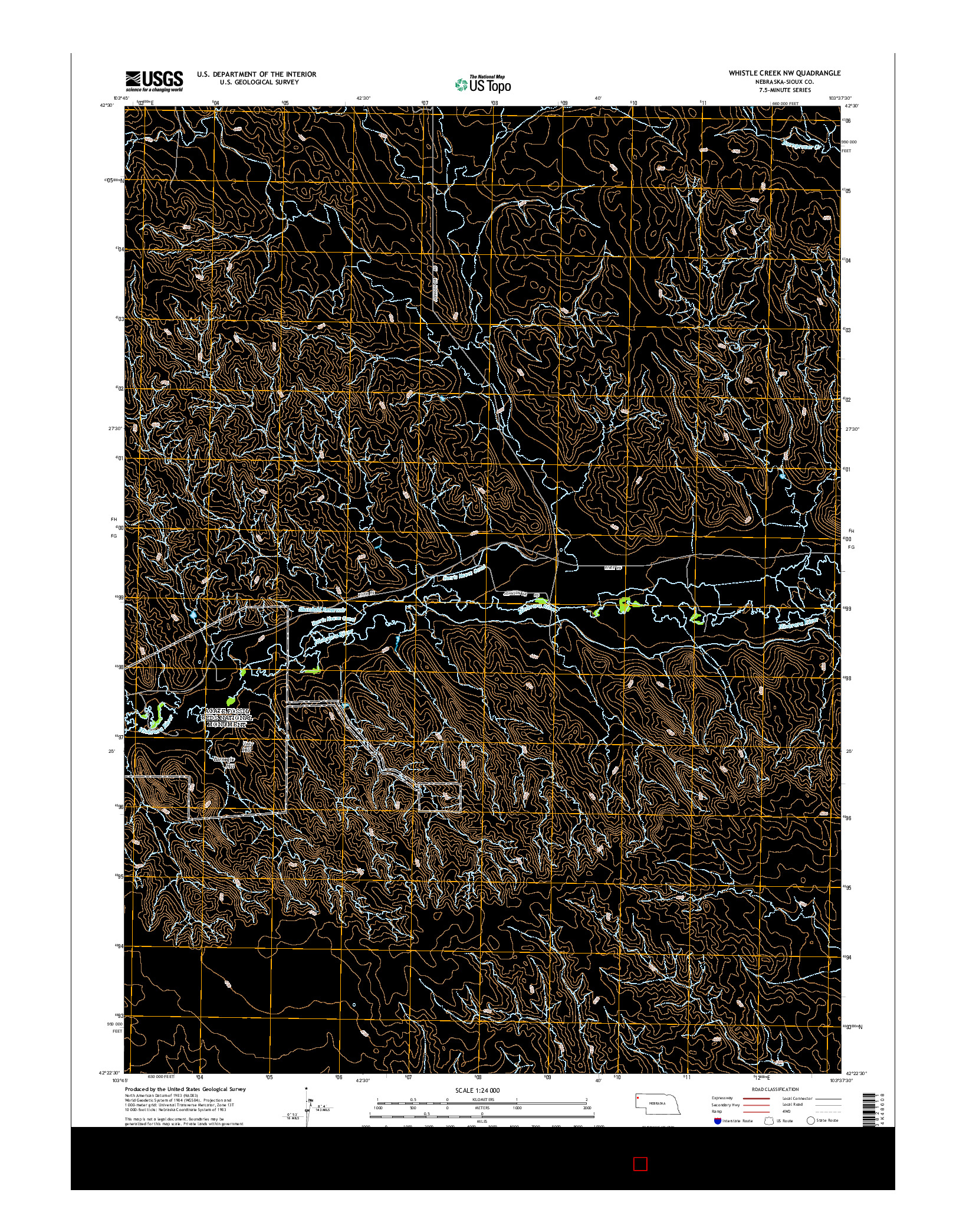 USGS US TOPO 7.5-MINUTE MAP FOR WHISTLE CREEK NW, NE 2014