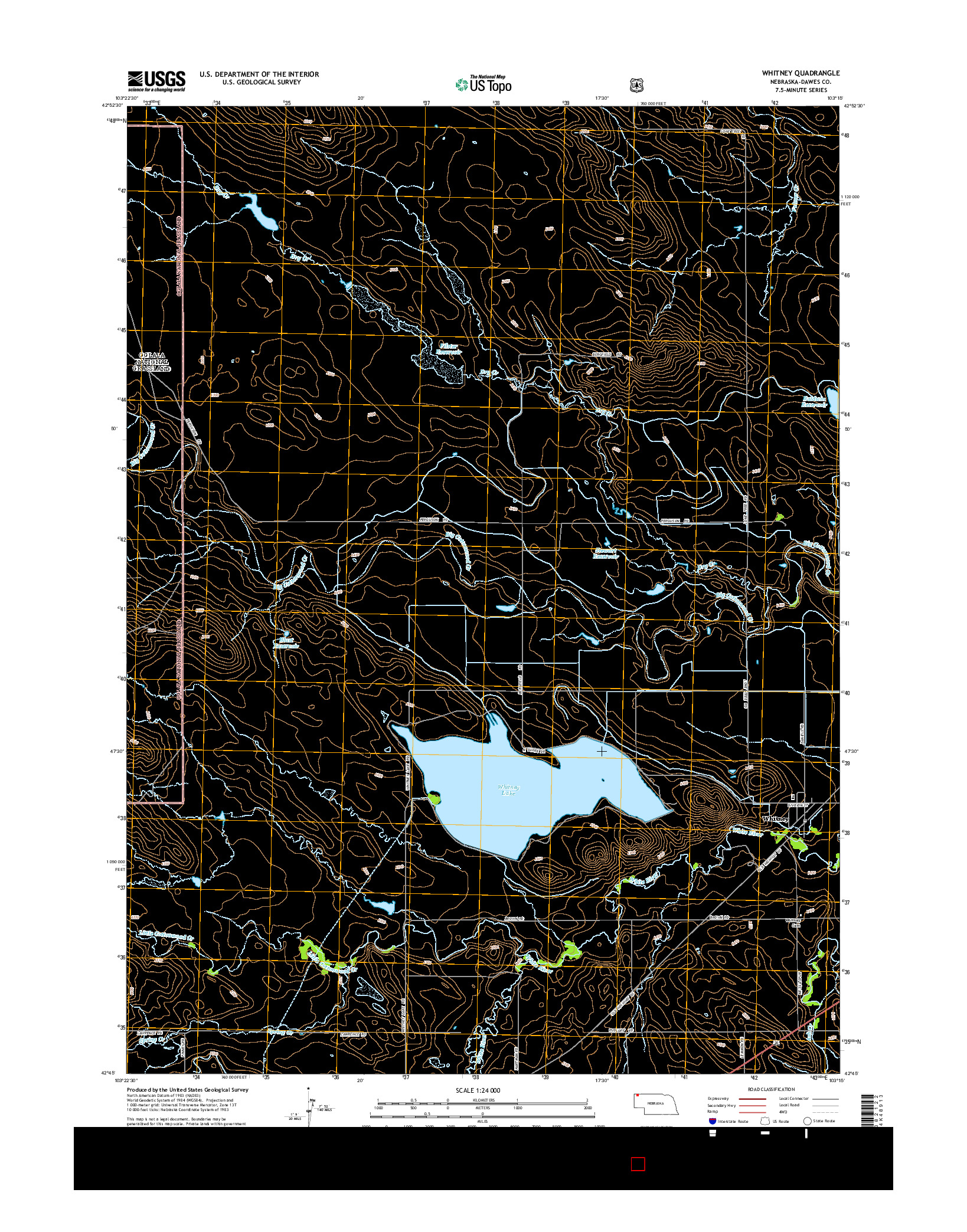USGS US TOPO 7.5-MINUTE MAP FOR WHITNEY, NE 2014