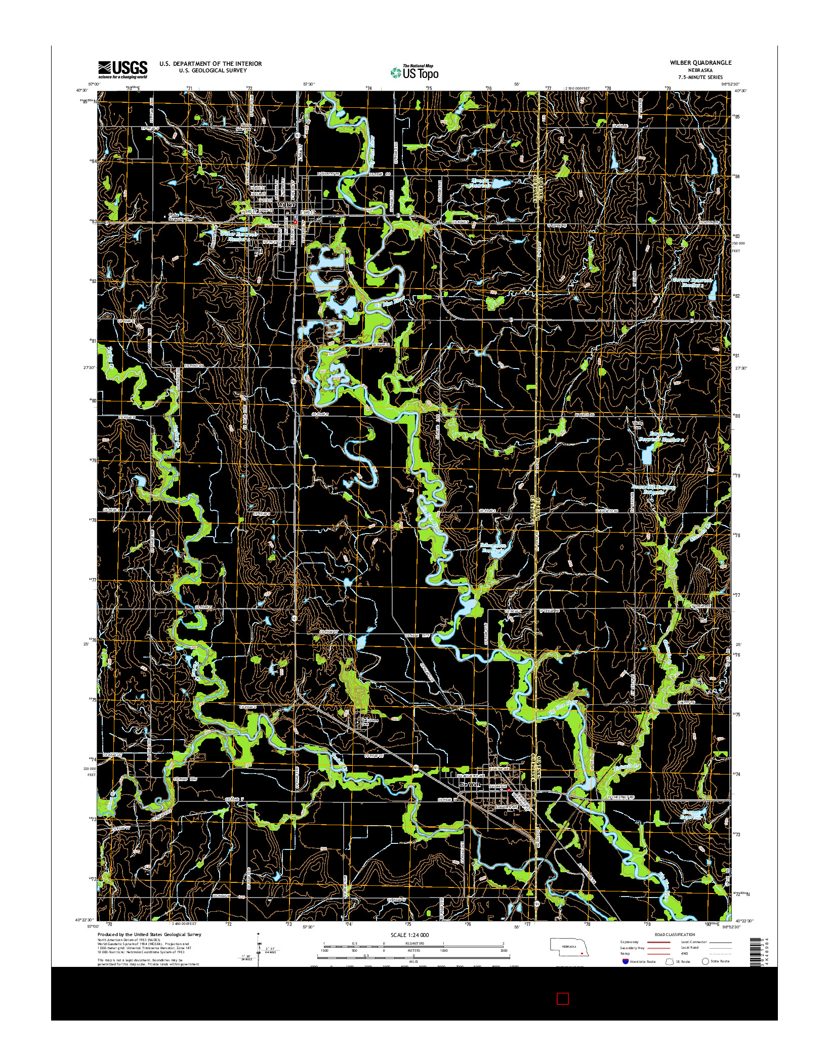 USGS US TOPO 7.5-MINUTE MAP FOR WILBER, NE 2014