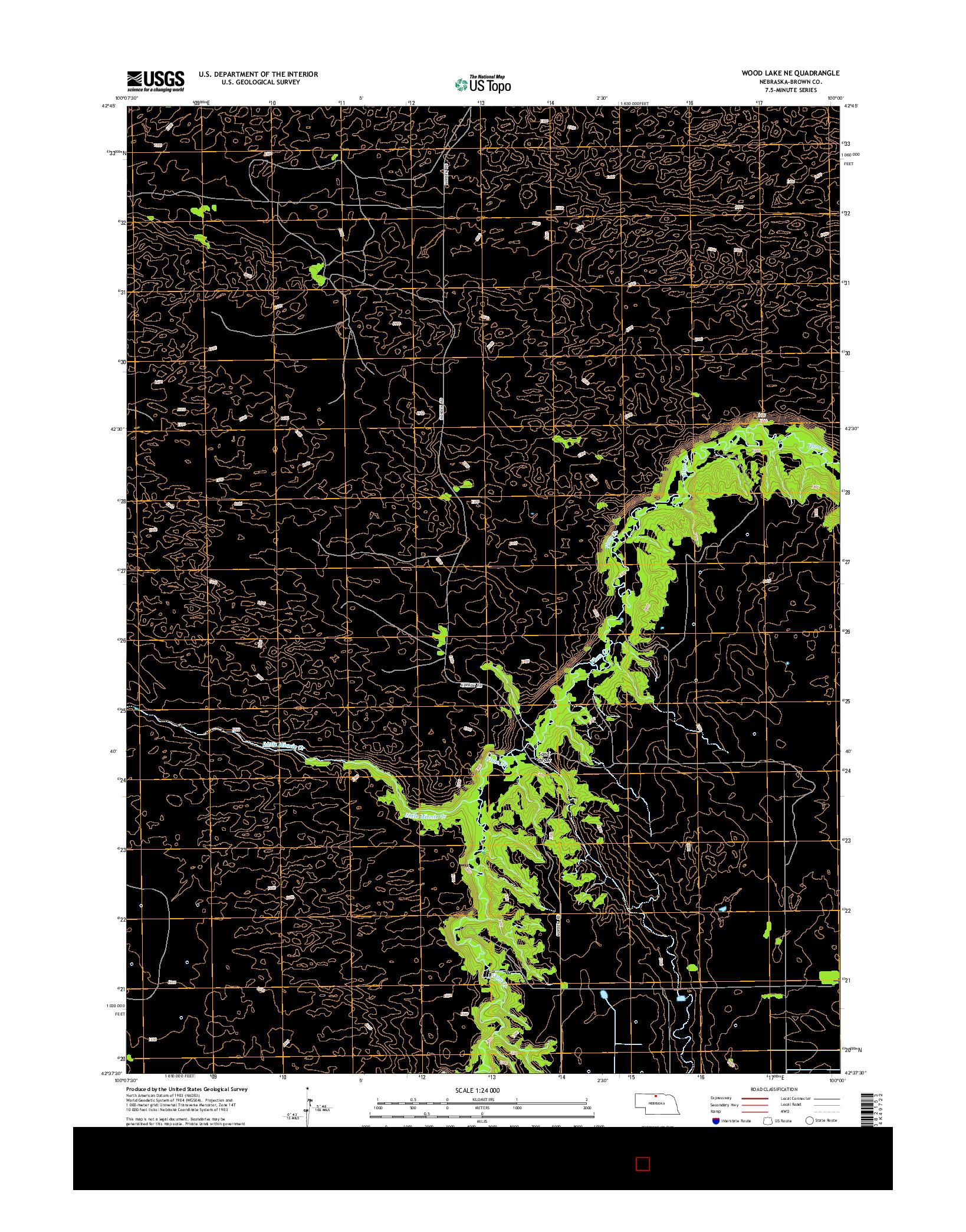 USGS US TOPO 7.5-MINUTE MAP FOR WOOD LAKE NE, NE 2014