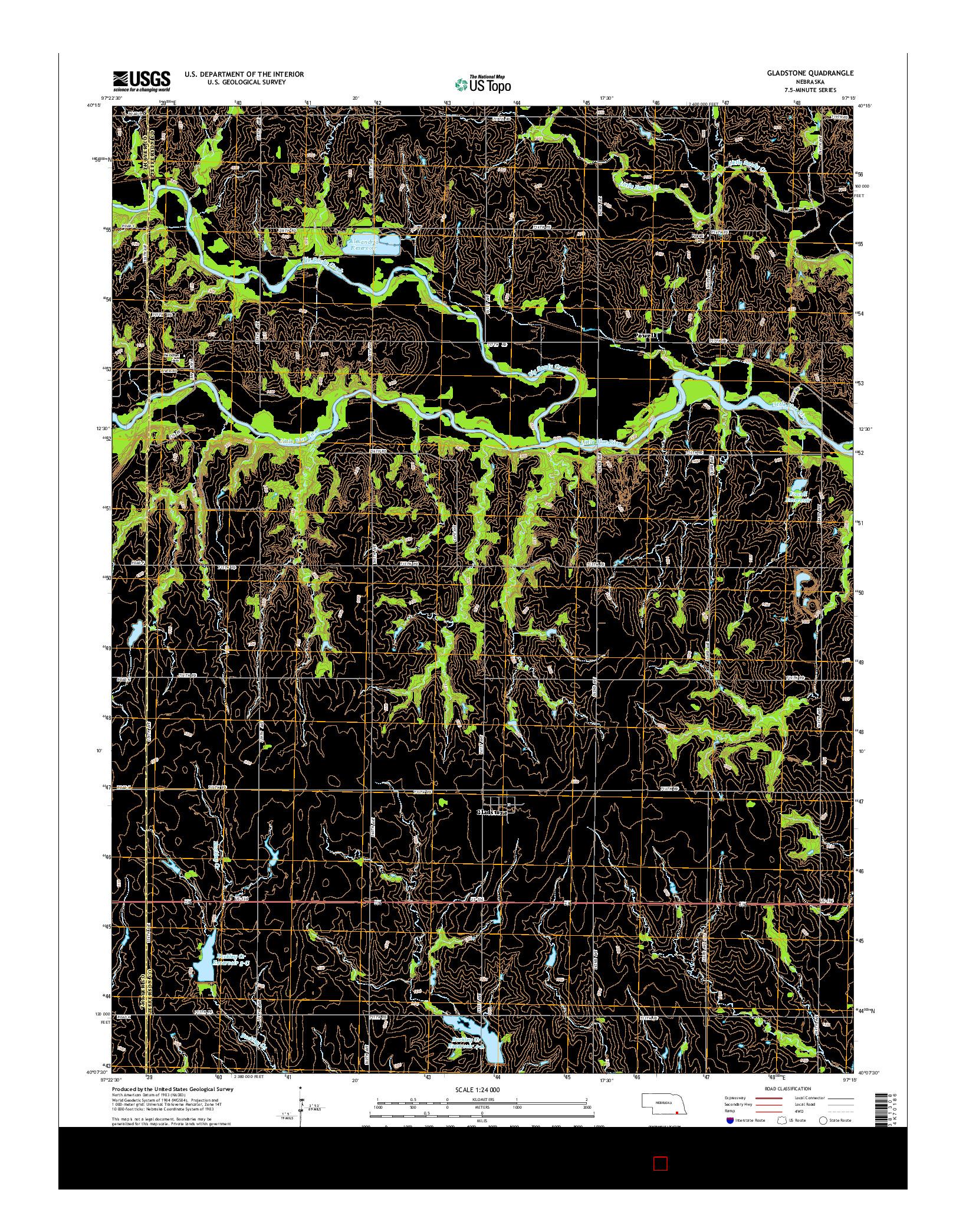 USGS US TOPO 7.5-MINUTE MAP FOR GLADSTONE, NE 2014