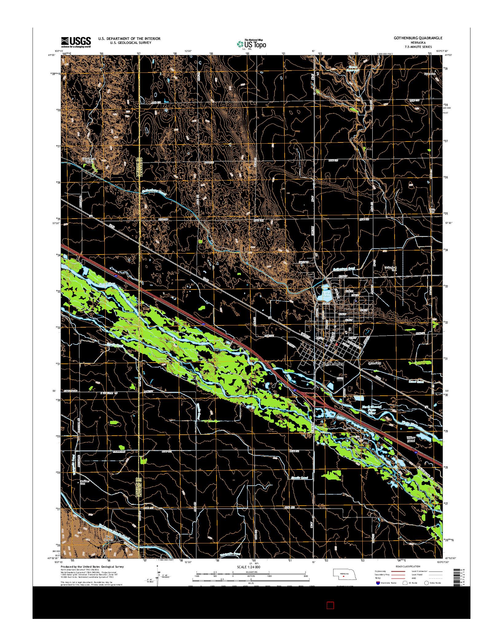 USGS US TOPO 7.5-MINUTE MAP FOR GOTHENBURG, NE 2014